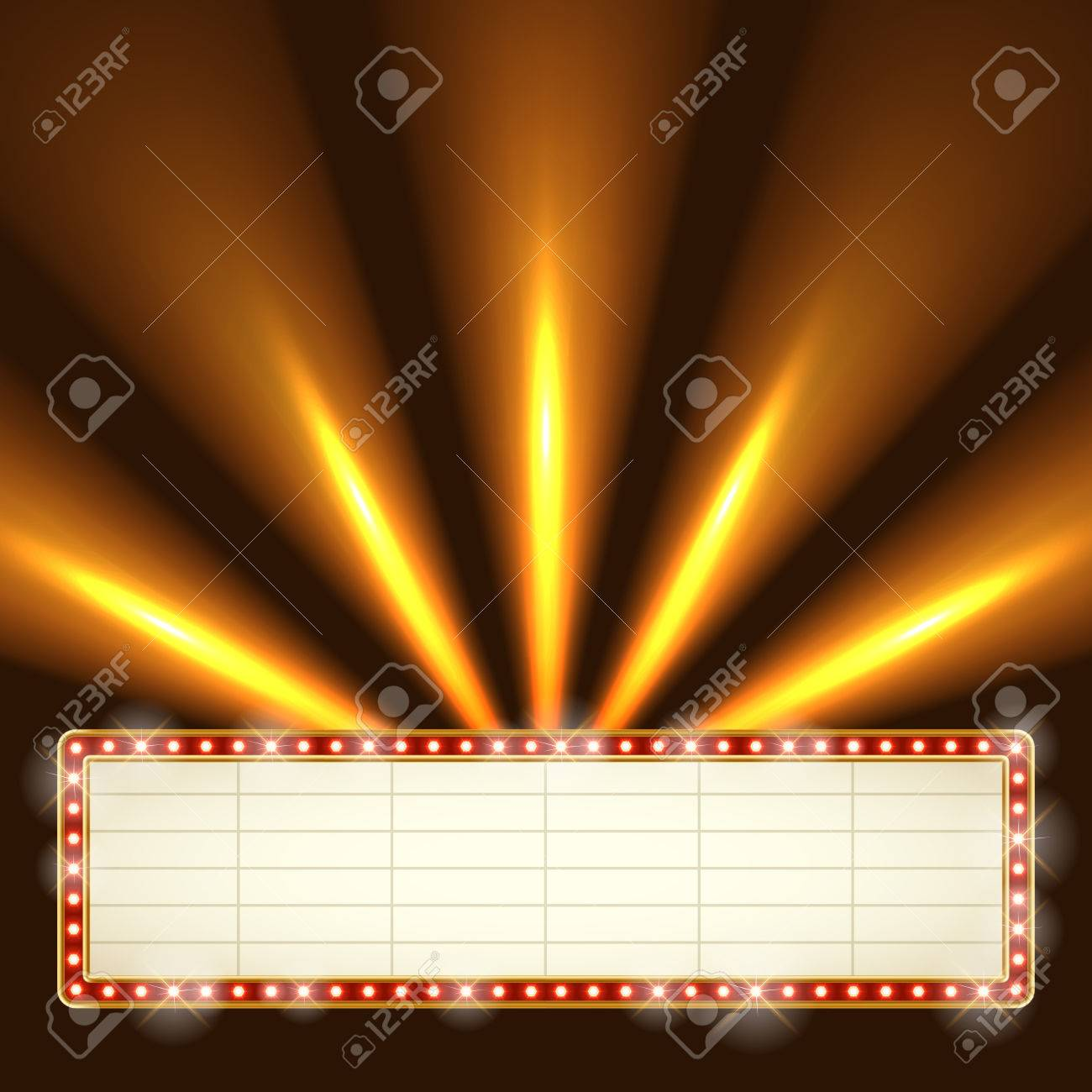 Blank Illuminated Marquee Frame With Bright Searchlights In The ...