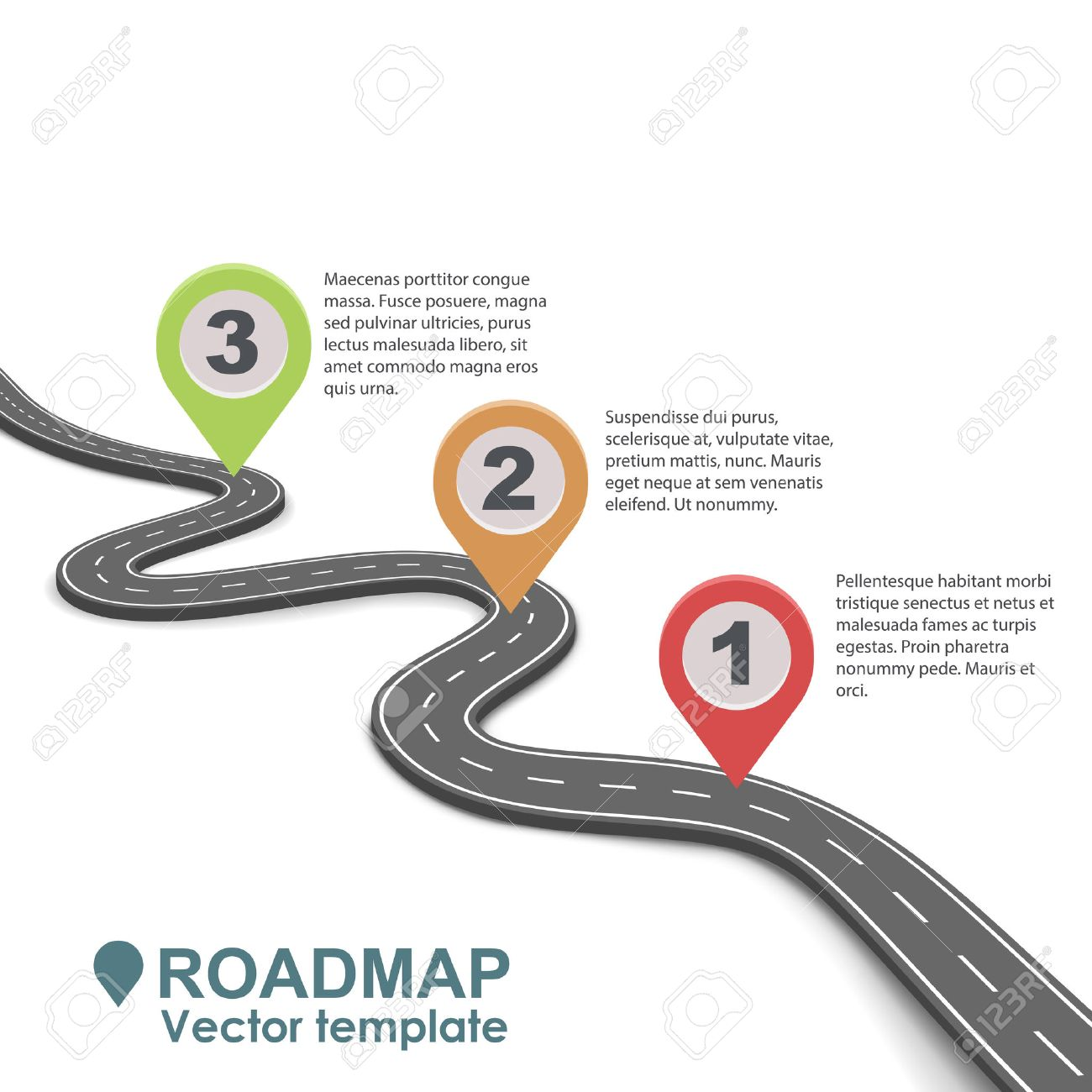 Abstract business roadmap infographic with color pointers vector template. Simple road isolated on white background. - 72945402