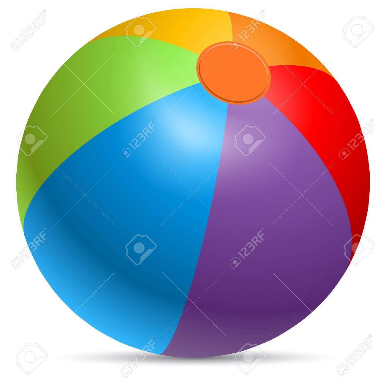 Colorful beach ball vector illustration. Rainbow colored beachball - 74887754
