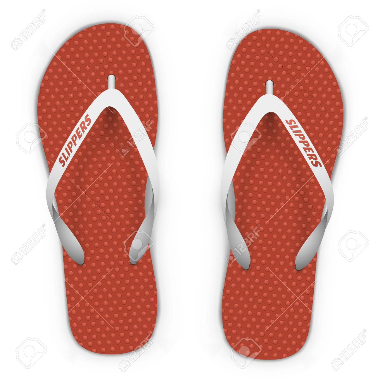 0a834e7426c478 Red and white beach slippers isolated on white background. Flip flops top  view vector template