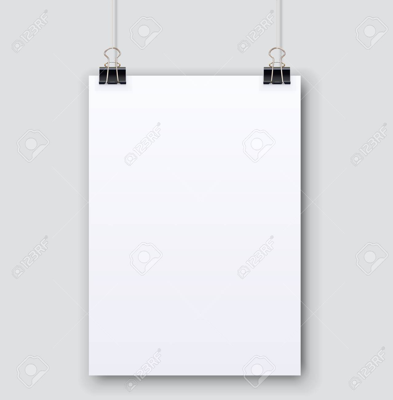 blank plain white paper page hanging on binder clips vector template