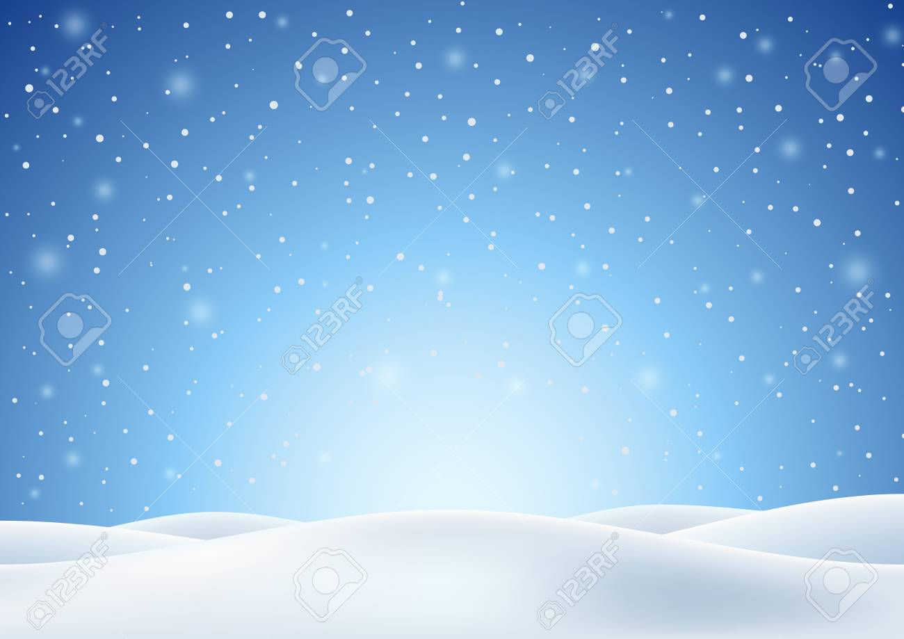 Winter Background with Falling Snow and White Snowy Hills. Christmas Horizontal Backdrop. Vector Illustration. - 91353874