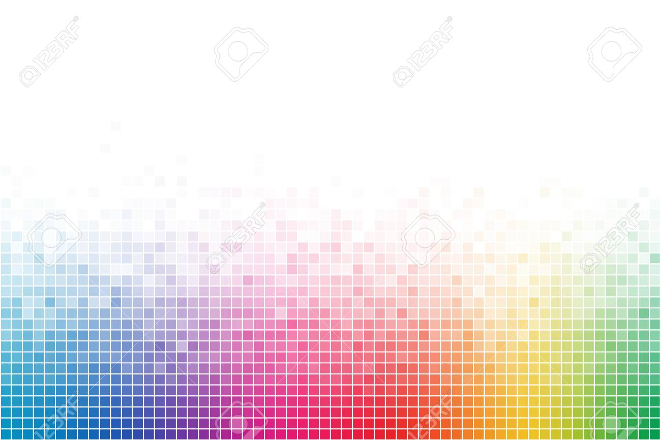 Abstract Rainbow Square Mosaic Vector Background Colorful Creative