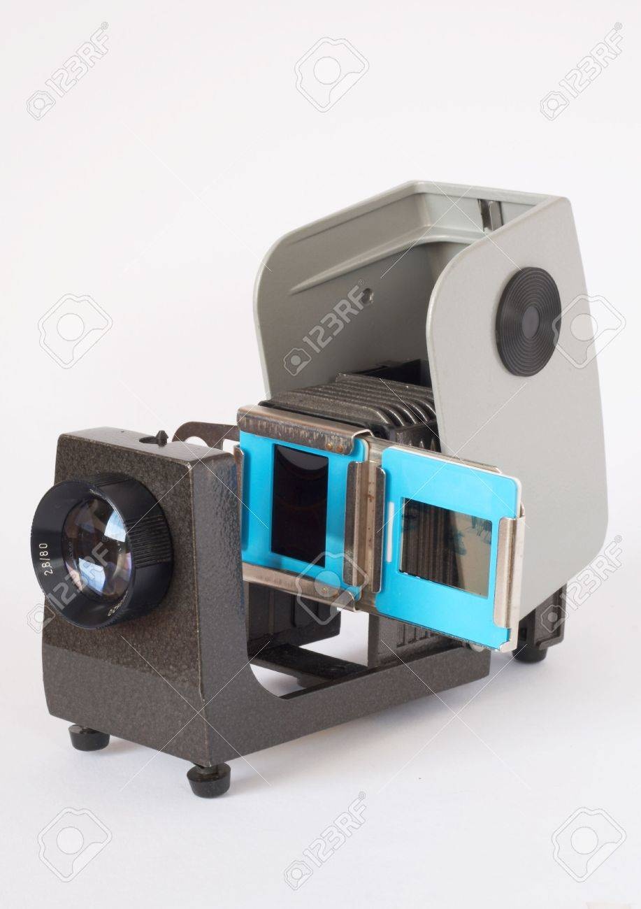 Old stylish slide projector from the 70s isolated on white