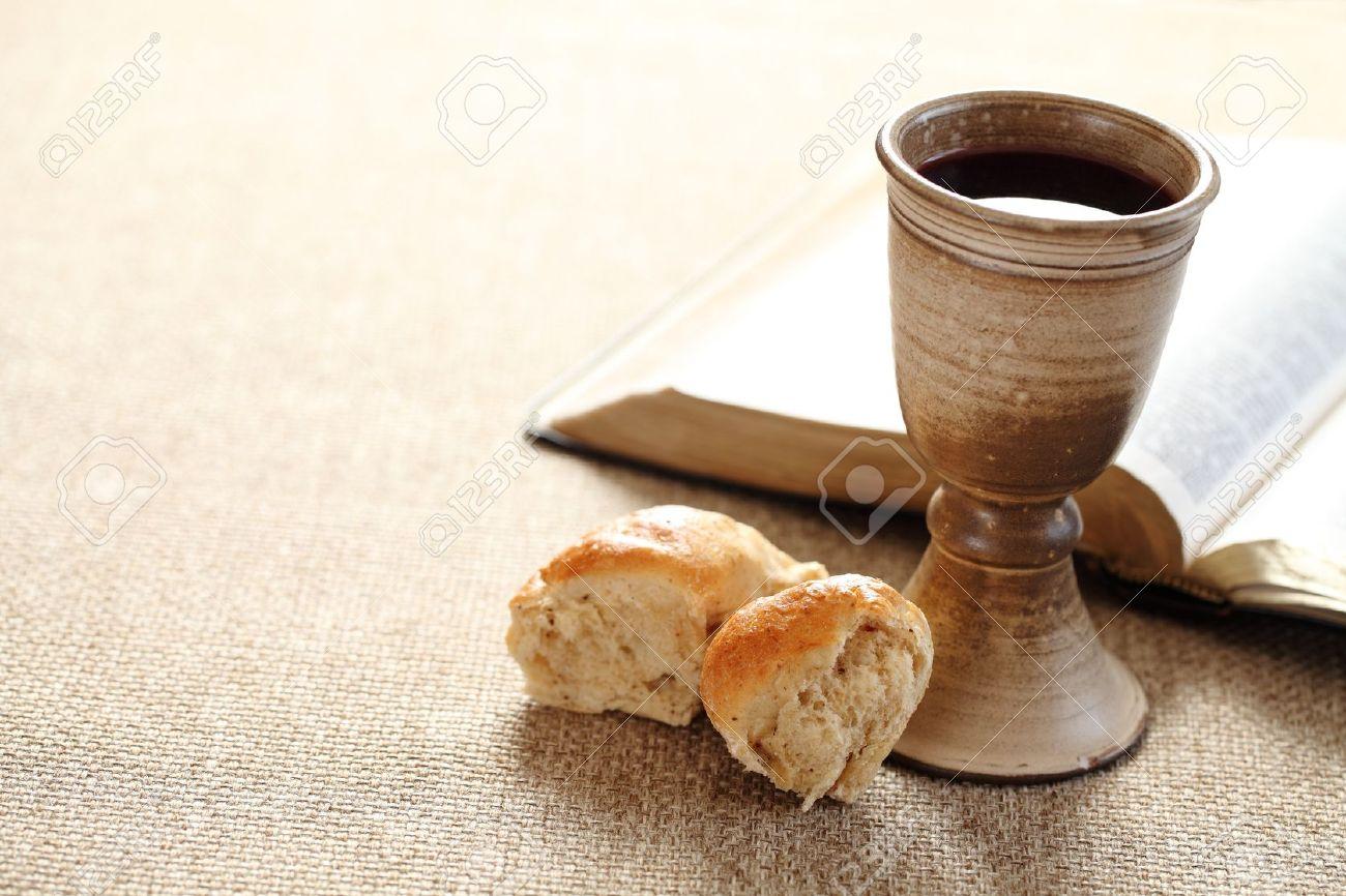 communion still life wine bread and bible stock photo picture