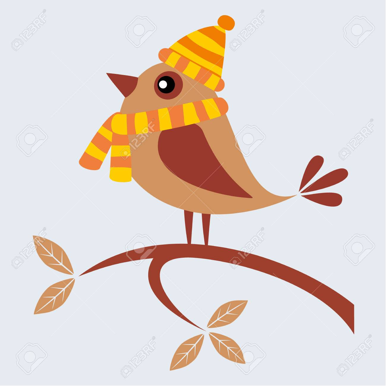 Cute Bird With Scarf And Cap Sitting On Branch In The Autumn Royalty Free Cliparts Vectors And Stock Illustration Image 25210888