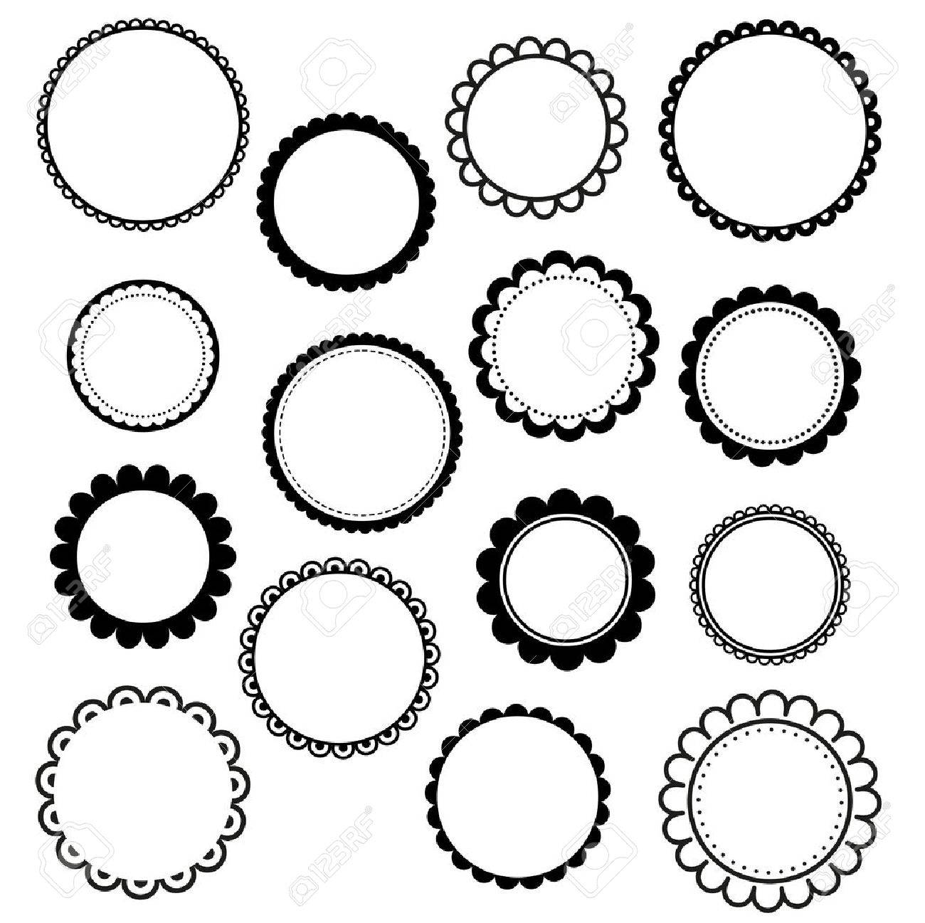 Set Of Round Scalloped Frames Royalty Free Cliparts, Vectors, And ...