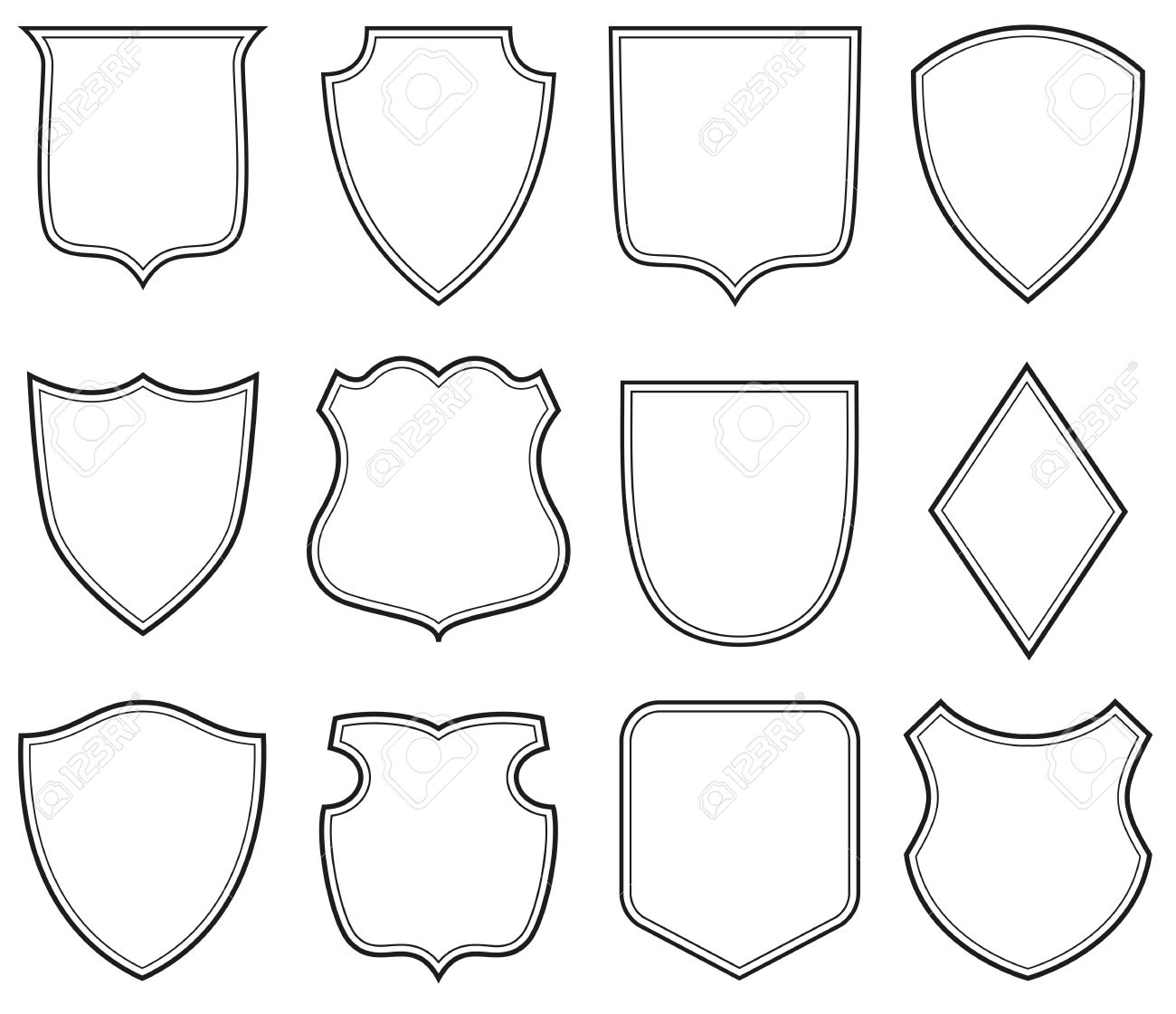 Collection Of Heraldic Shield Shapes Royalty Free Cliparts, Vectors ...