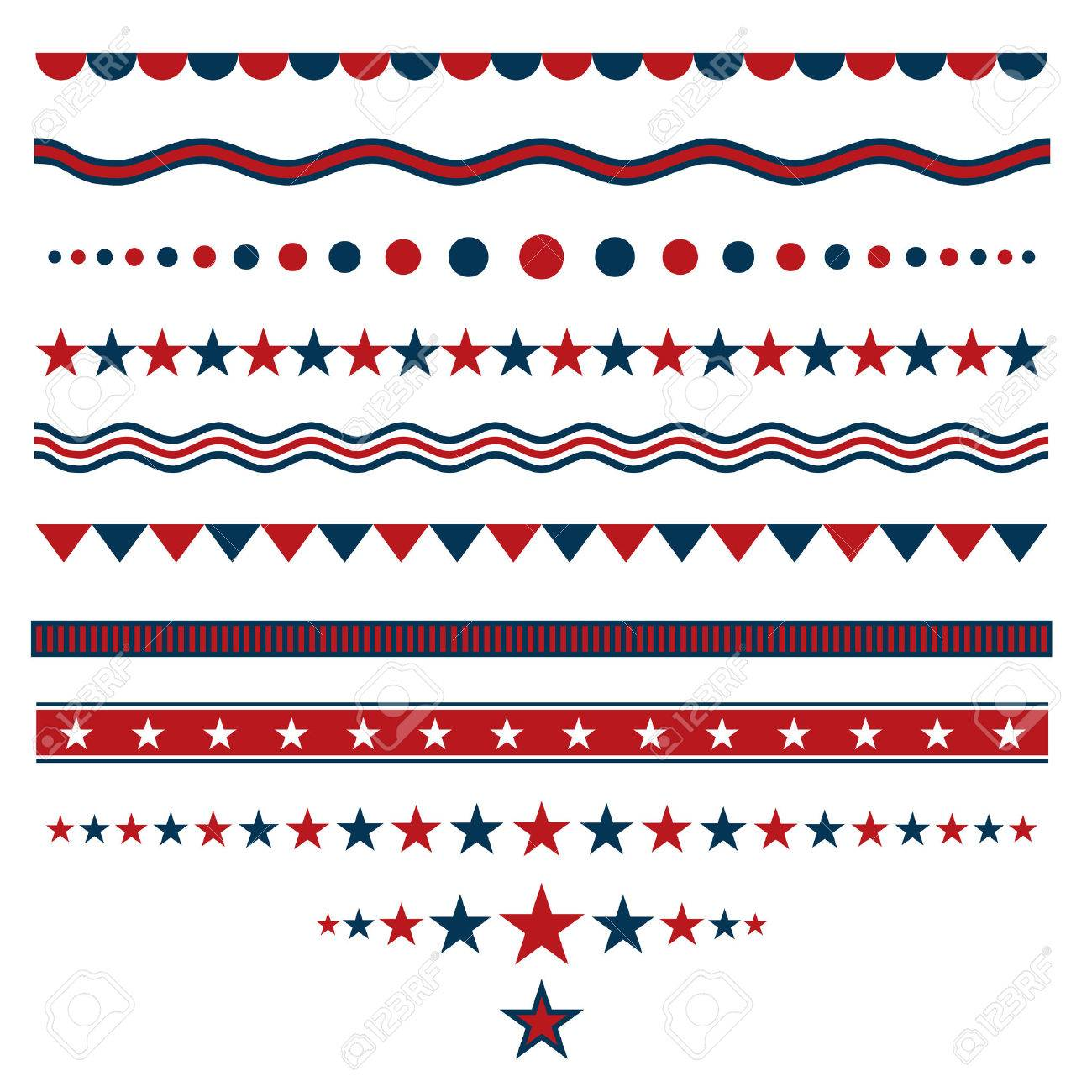 Red and blue dividers for patriotic designs - 50321850