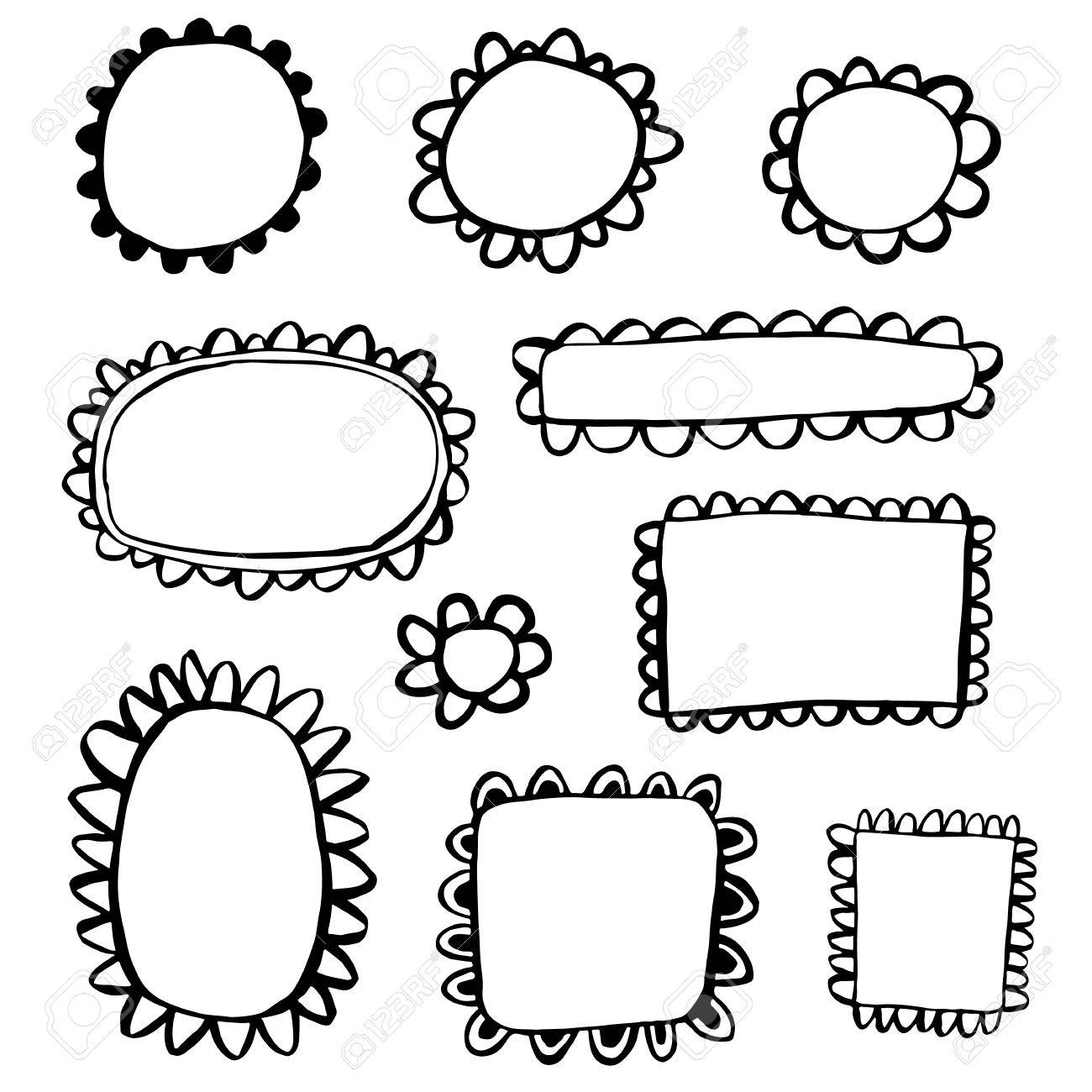 Scribbled Hand Drawn Scalloped Frames Royalty Free Cliparts, Vectors ...