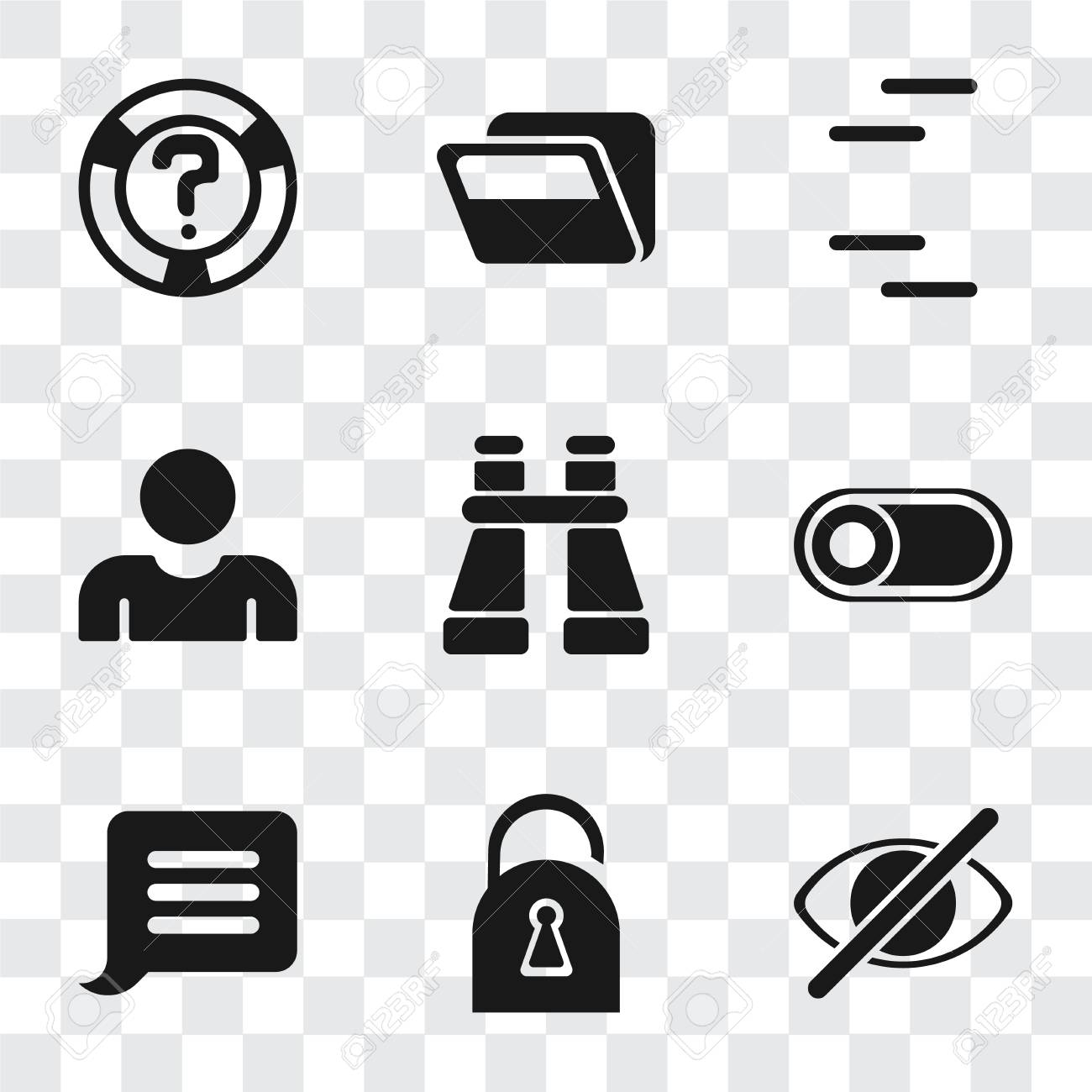 Set Of 9 Simple Transparency Icons Such As Hide Locked Notification Royalty Free Cliparts Vectors And Stock Illustration Image 111924363 İngilizce türkçe online sözlük tureng. 123rf com