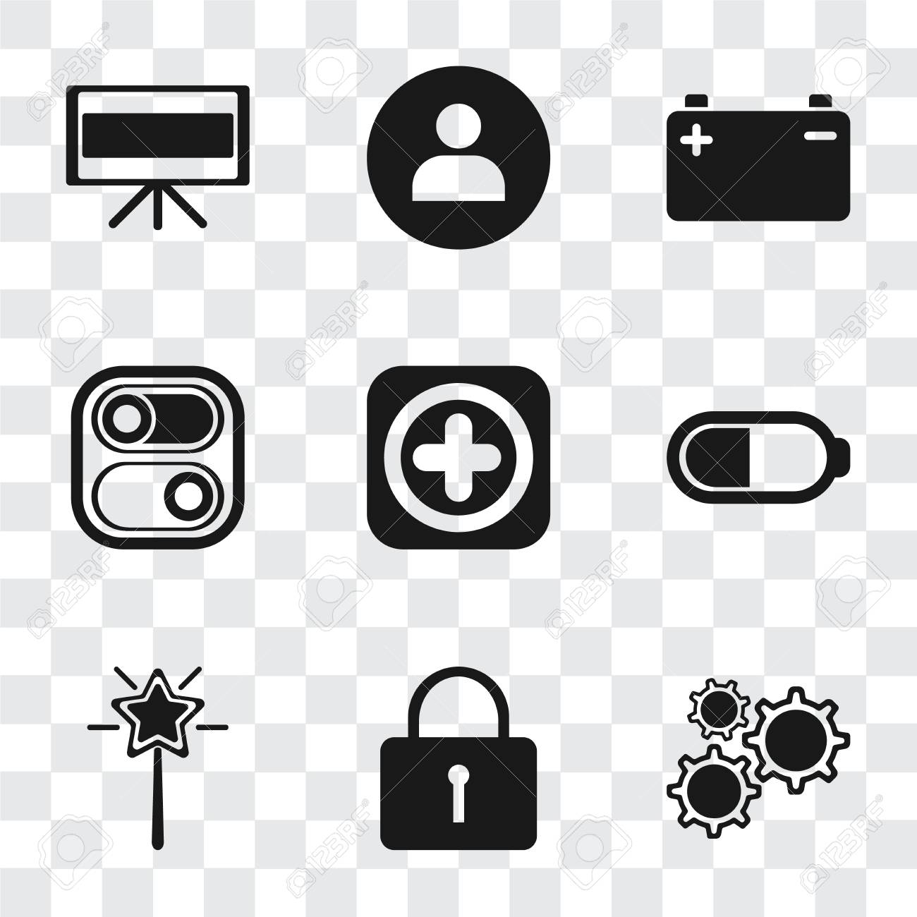 Set Of 9 simple transparency icons such as Settings, Locked, Magic wand,  Battery, Add, Switch, User, Television, can be used for mobile, pixel  perfect