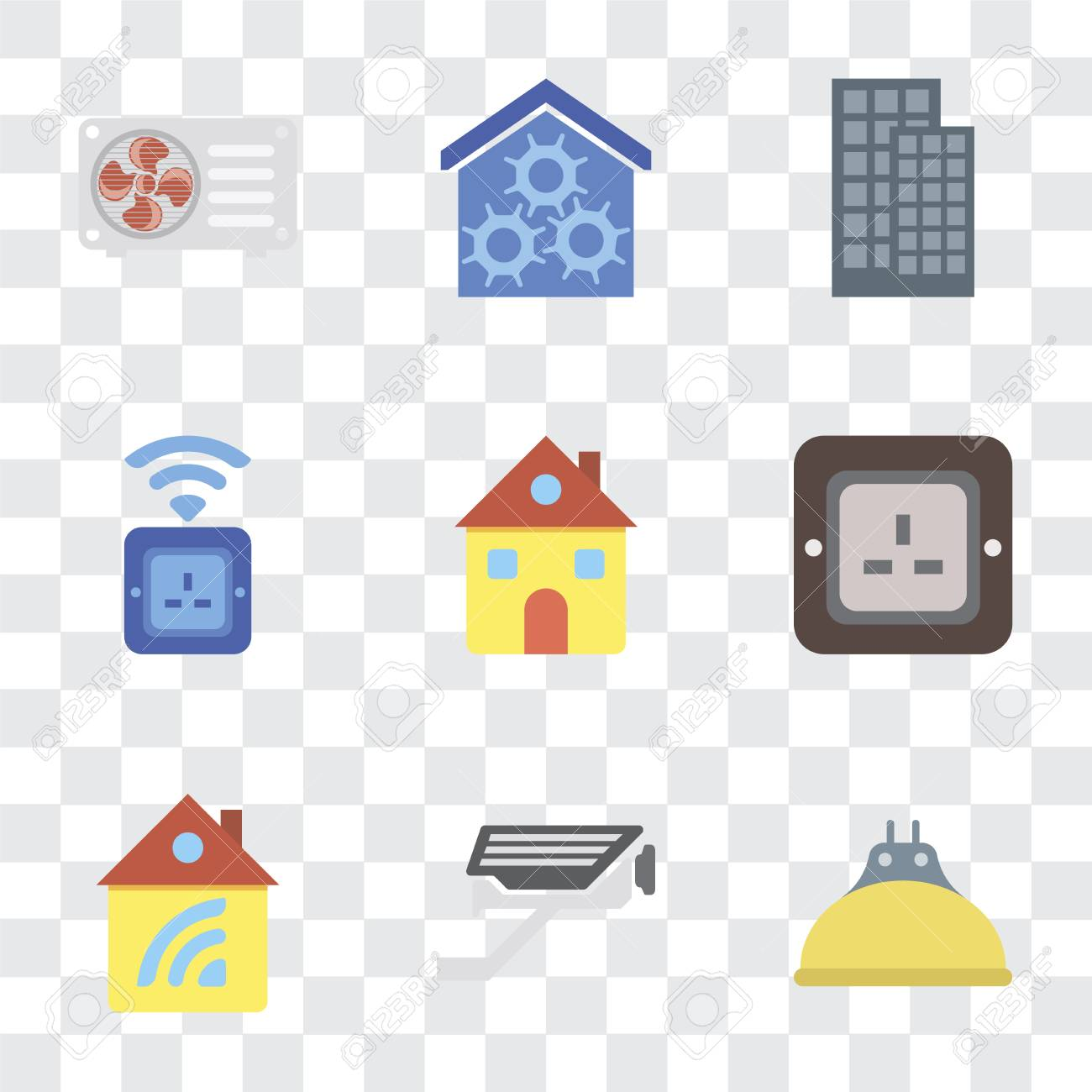Set Of 9 simple transparency icons such as Lightbulb, Cctv, Home,
