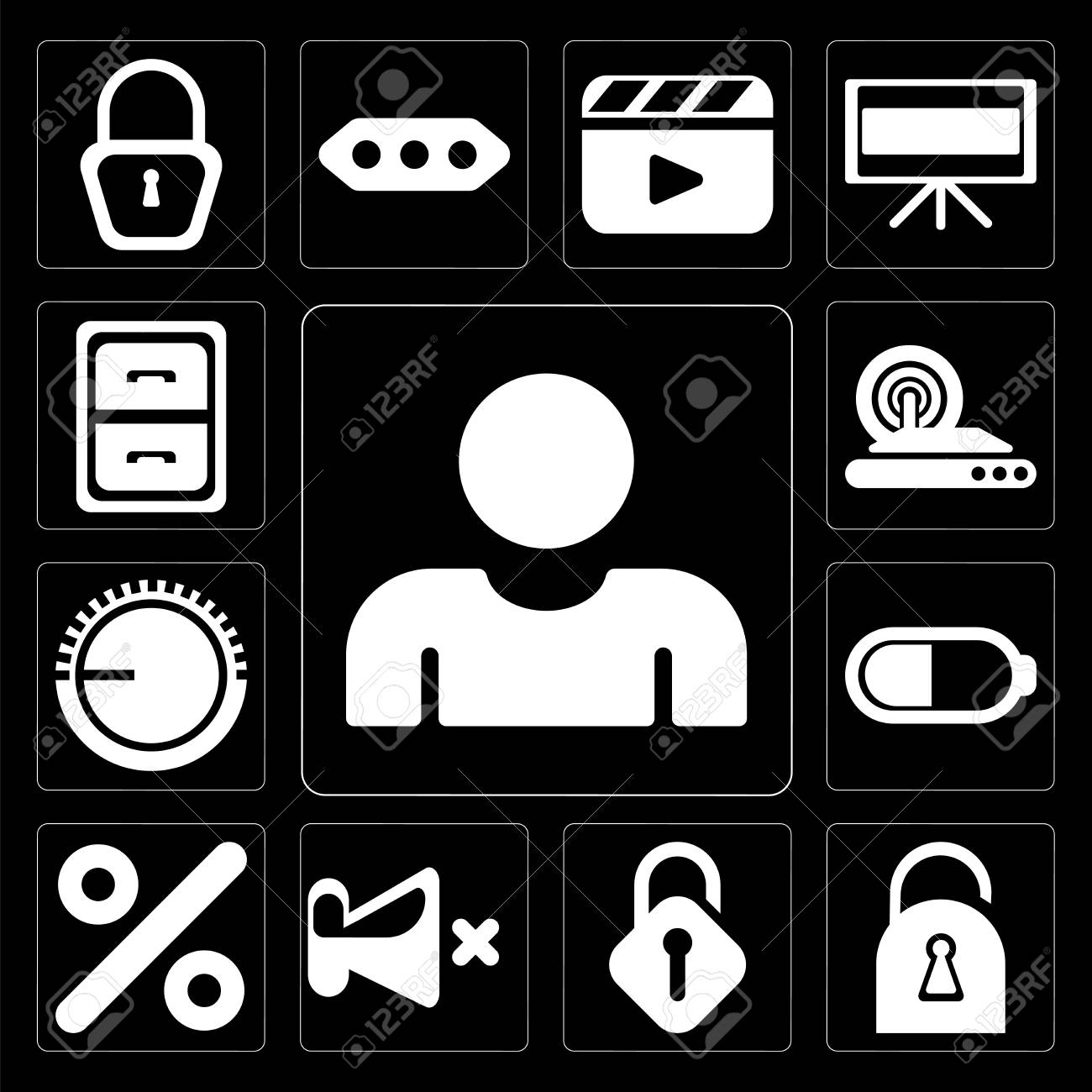 Set Of 13 simple editable icons such as User, Locked, Unlocked, Mute, Percent, Battery, Volume control, Wireless internet, Archive on black background - 111925532