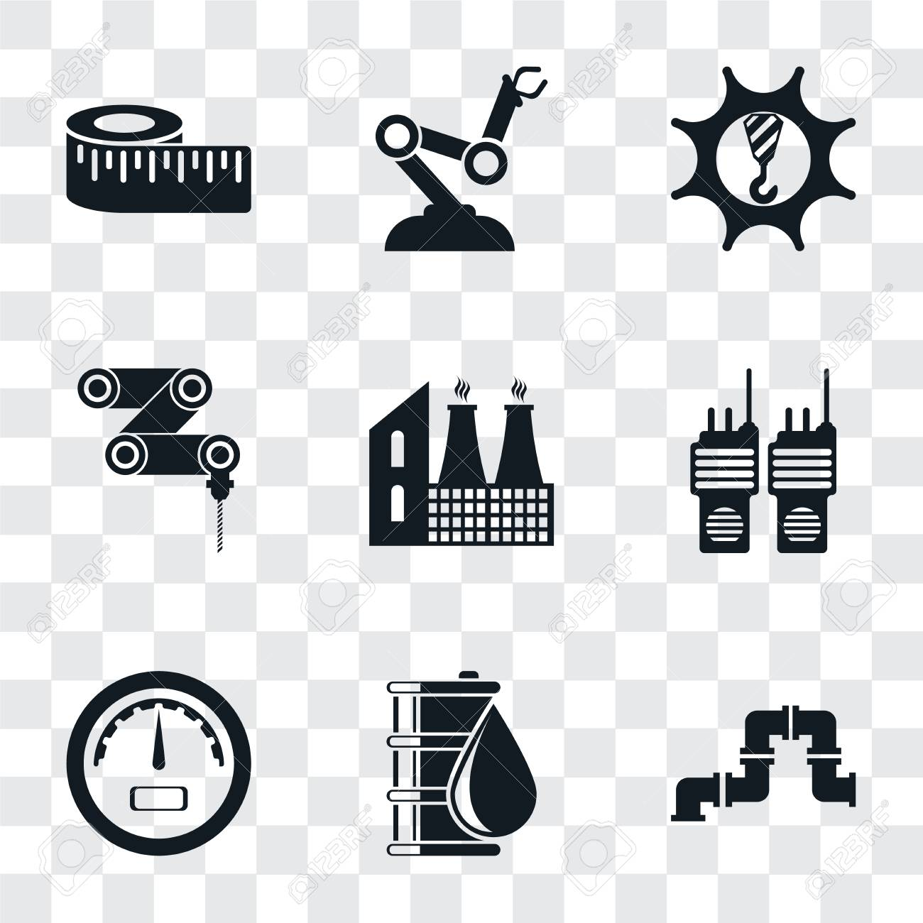 Set Of 9 simple transparency icons such as Pipe, Oil, Gauge,
