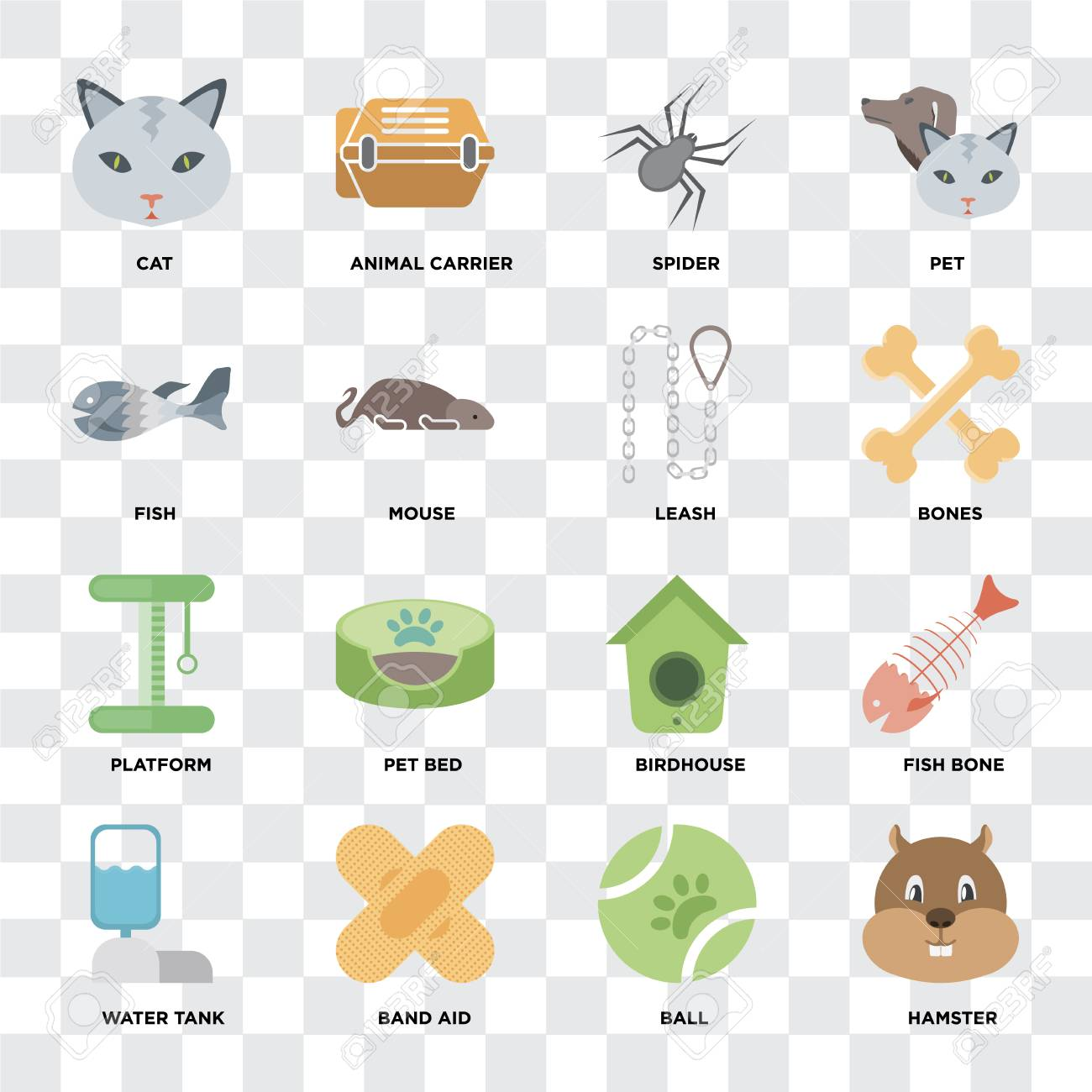 Set Of 16 icons such as Hamster, Ball, Band aid, Water tank,