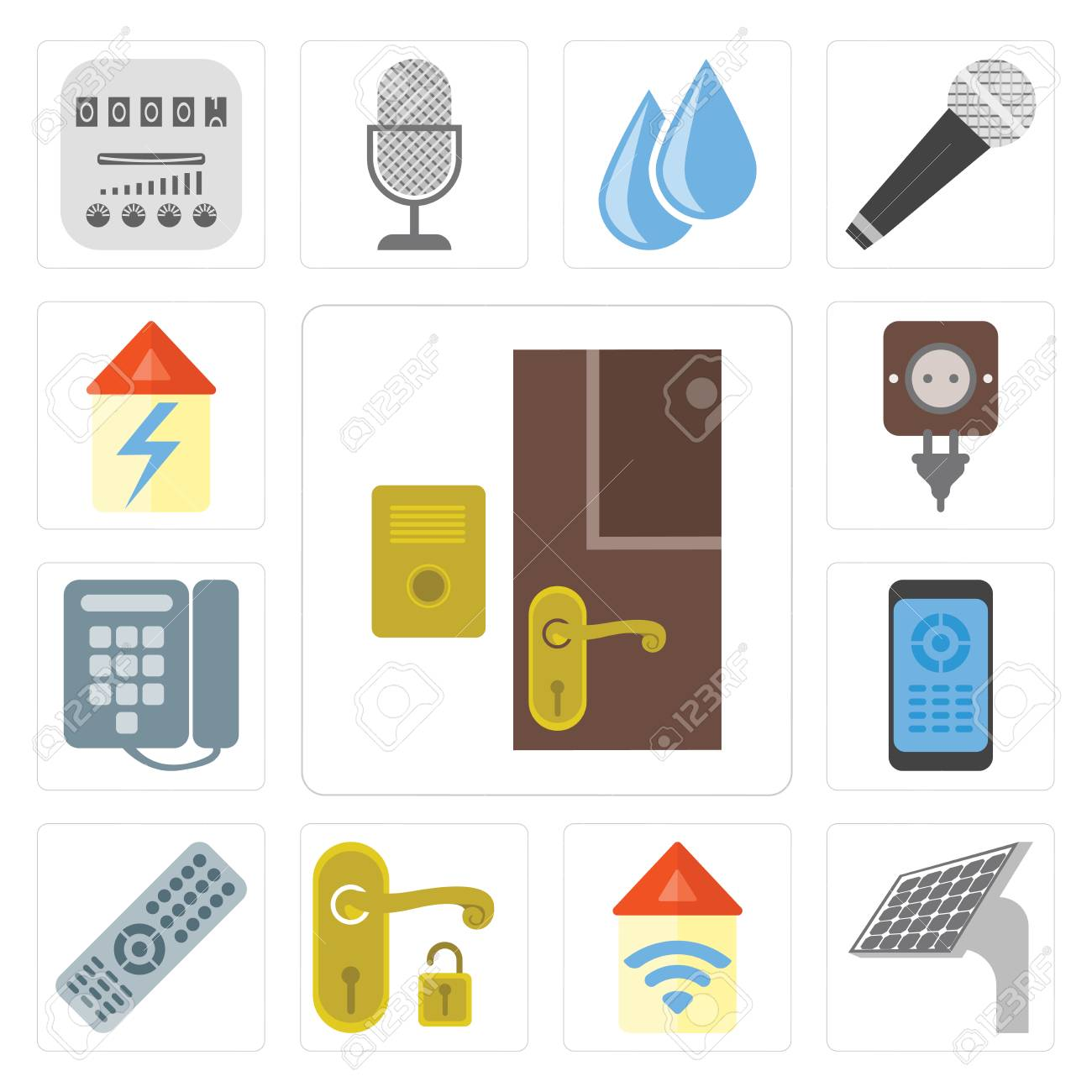 Set Of 13 simple editable icons such as Doorbell, Panel, Automation, Handle, Remote, Dial, Plug, Home, web ui icon pack - 111926047