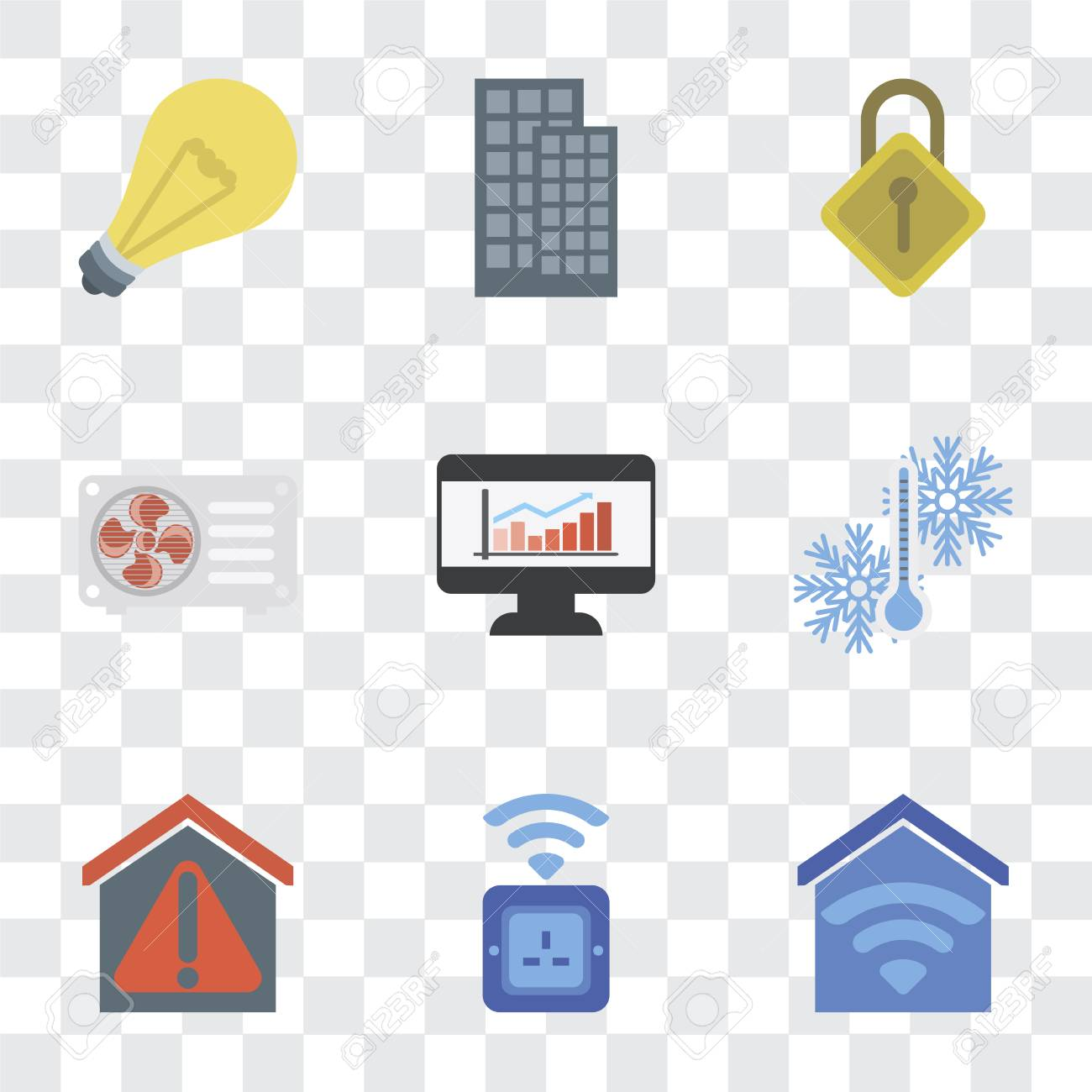Set Of 9 simple transparency icons such as Smart home, Socket,
