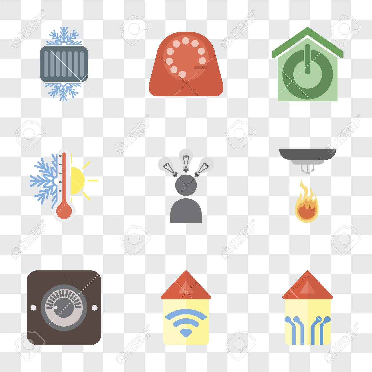 Set Of 9 simple transparency icons such as Smart home, Automation,