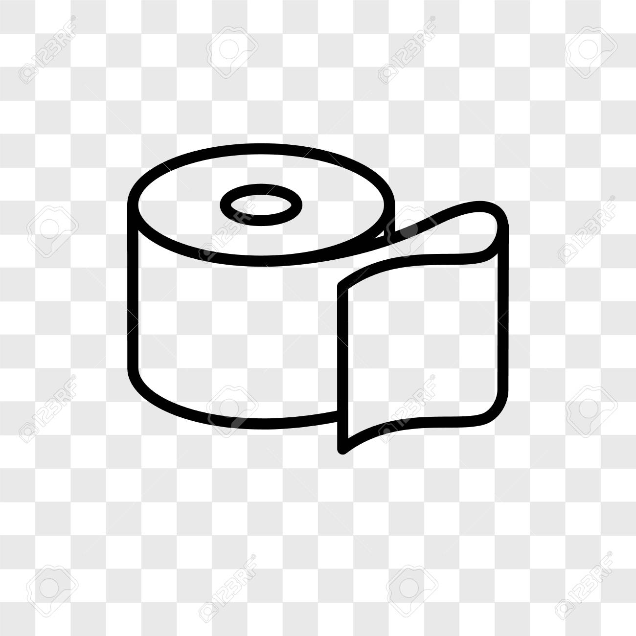 Toilet Paper Vector Icon Isolated On Transparent Background