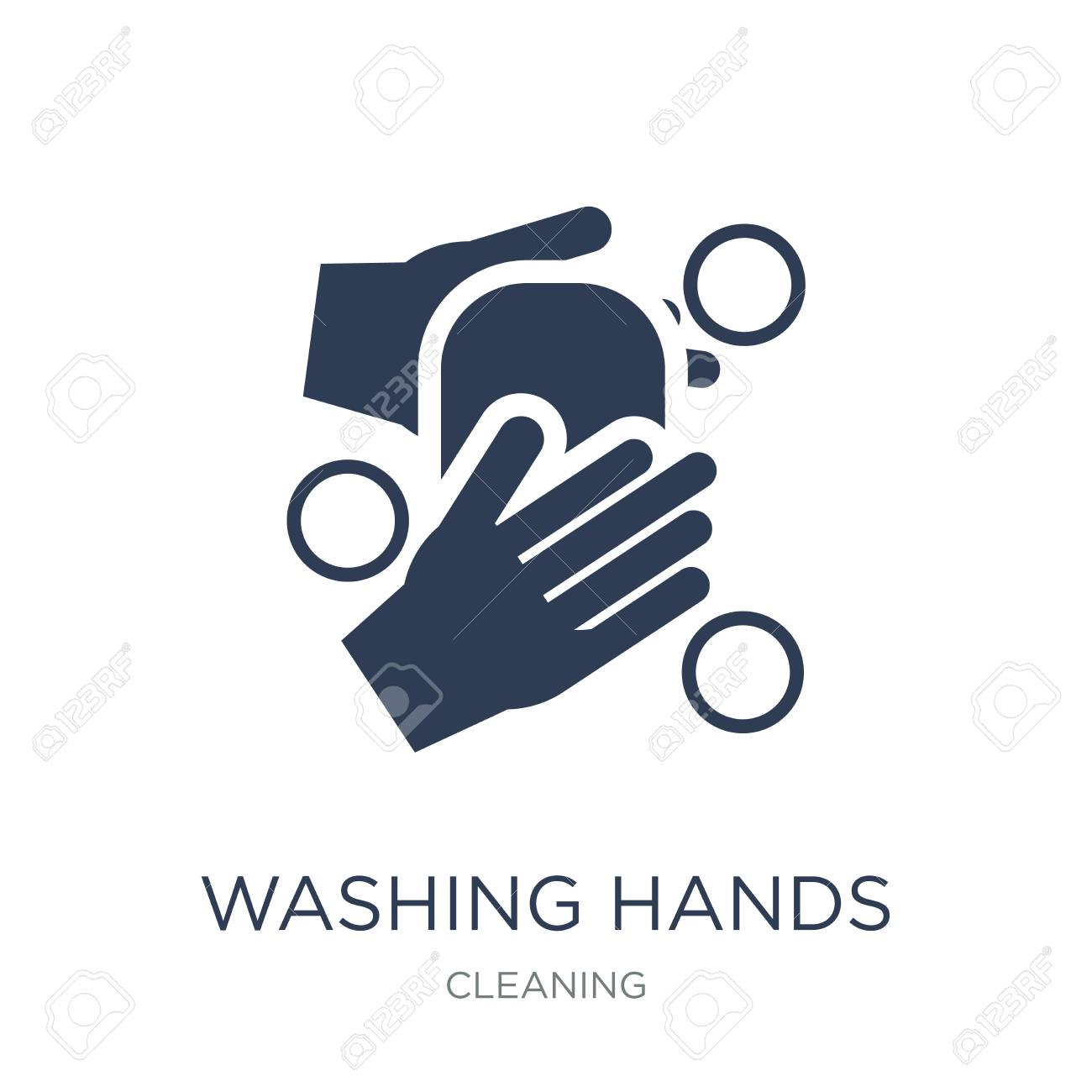WASHING HANDS icon. Trendy flat vector WASHING HANDS icon on white background from Cleaning collection, vector illustration can be use for web and mobile, eps10 - 111974641