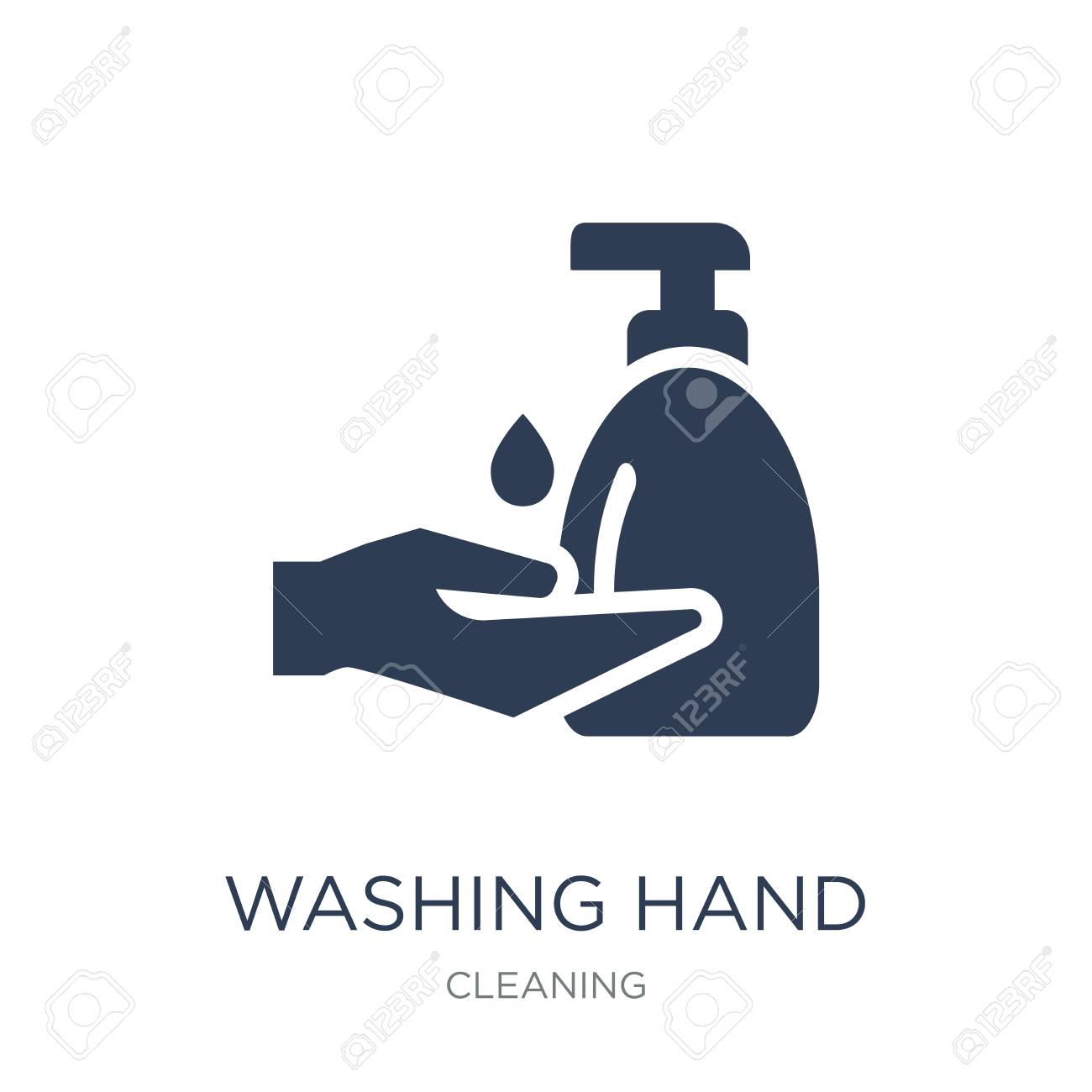Washing hand icon. Trendy flat vector Washing hand icon on white background from Cleaning collection, vector illustration can be use for web and mobile, eps10 - 111953109