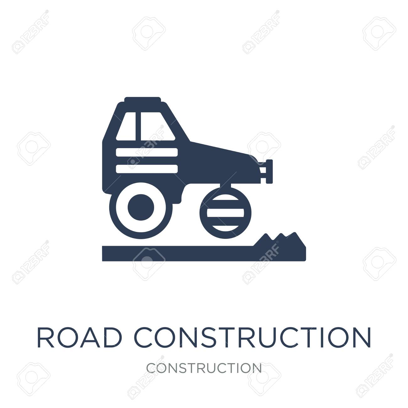 road construction icon. Trendy flat vector road construction icon on white background from Construction collection, vector illustration can be use for web and mobile, eps10 - 112096161