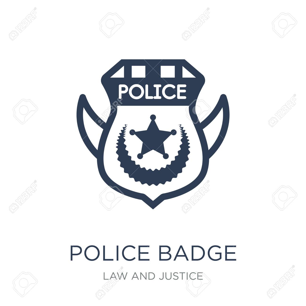 Police Badge Icon Trendy Flat Vector Police Badge Icon On White