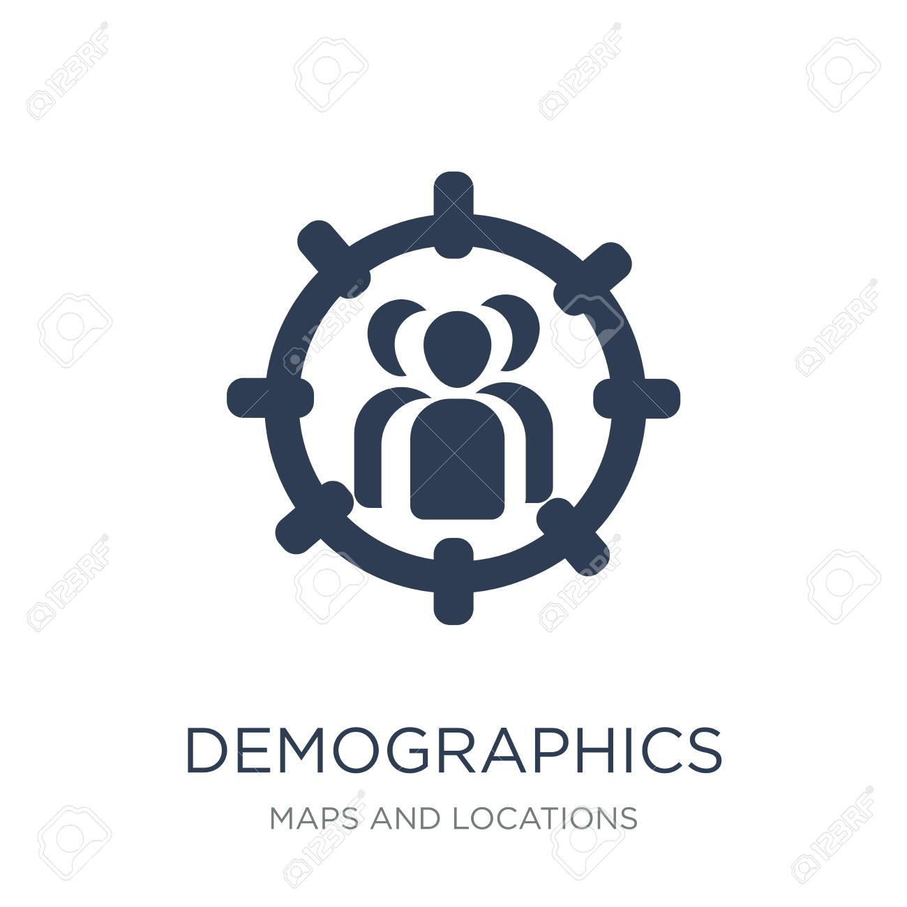 Demographics icon. Trendy flat vector Demographics icon on white background from Maps and Locations collection, vector illustration can be use for web and mobile, eps10 - 112320604