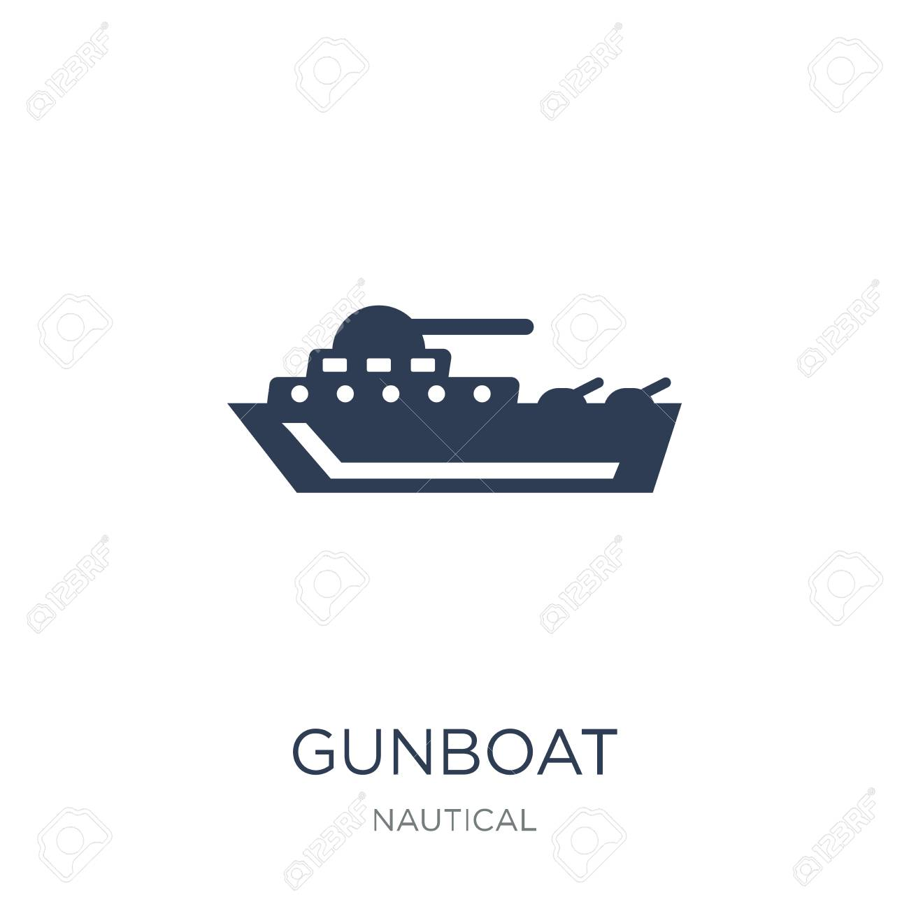 gunboat icon. Trendy flat vector gunboat icon on white background from Nautical collection, vector illustration can be use for web and mobile, eps10 - 112365951