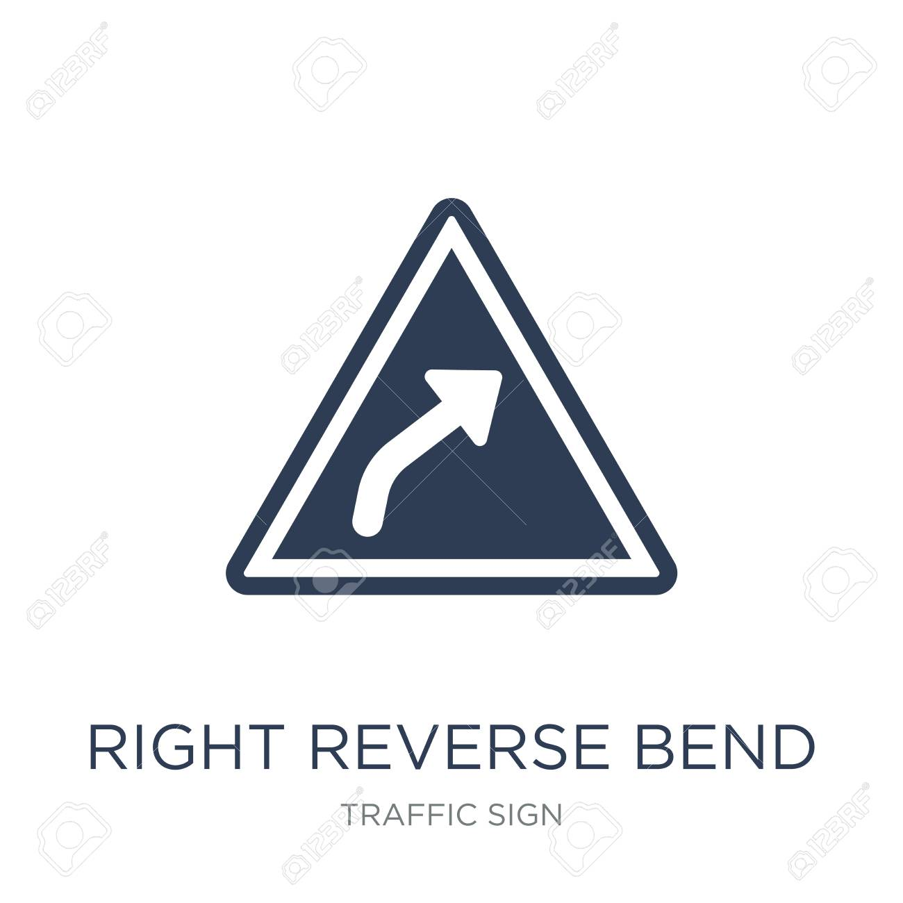 Right reverse bend sign icon. Trendy flat vector Right reverse bend sign icon on white background from traffic sign collection, vector illustration can be use for web and mobile, eps10 - 112417210