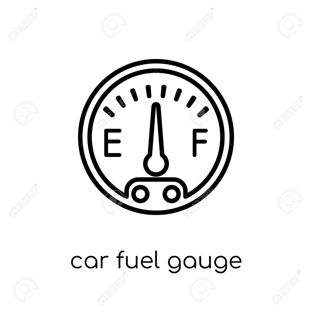 car fuel gauge icon. Trendy modern flat linear vector car fuel gauge icon on white background from thin line Car parts collection, outline vector illustration - 112418041