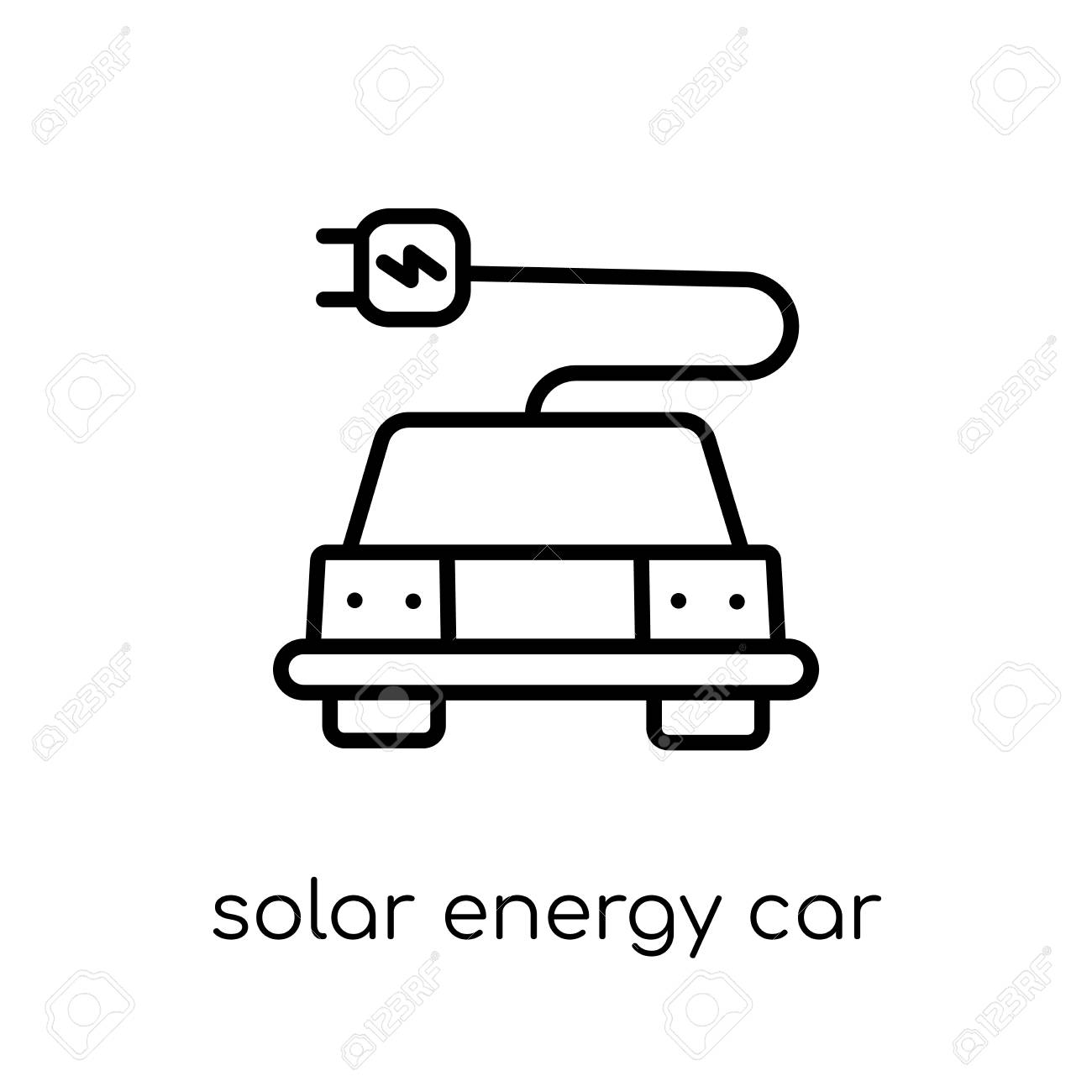 solar energy car icon. Trendy modern flat linear vector solar energy car icon on white background from thin line Artificial Intelligence, Future Technology collection, outline vector illustration - 112418678