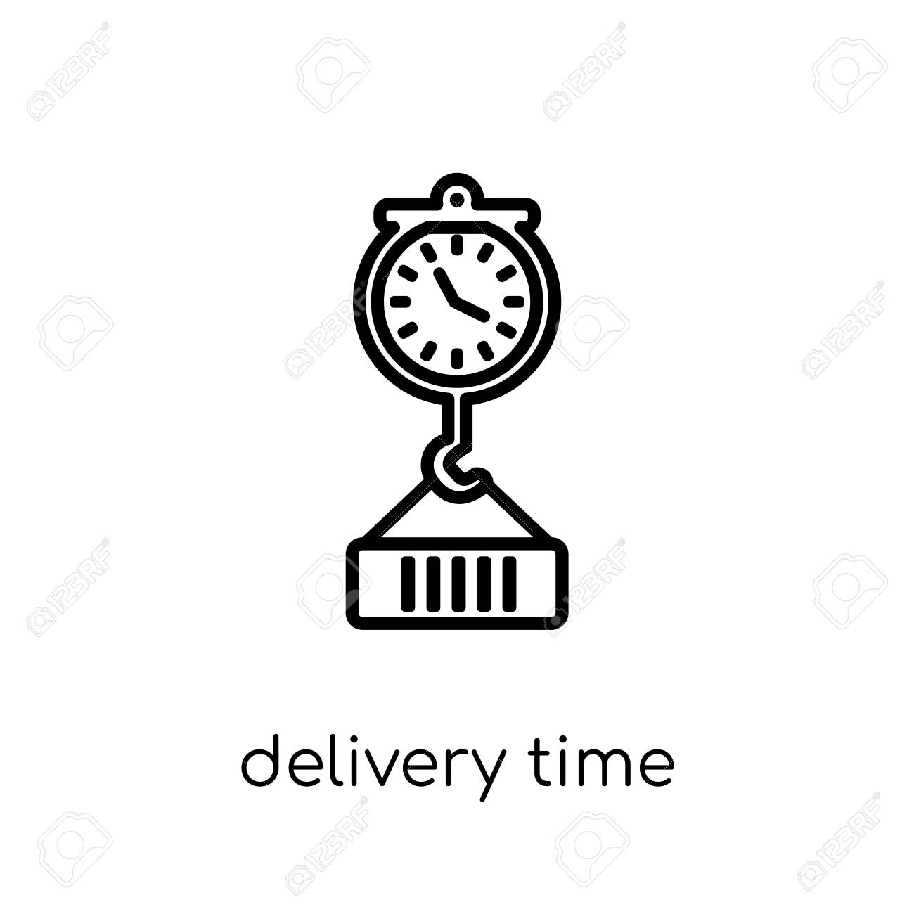 delivery time icon. Trendy modern flat linear vector delivery time icon on white background from thin line Delivery and logistic collection, outline vector illustration - 112280250