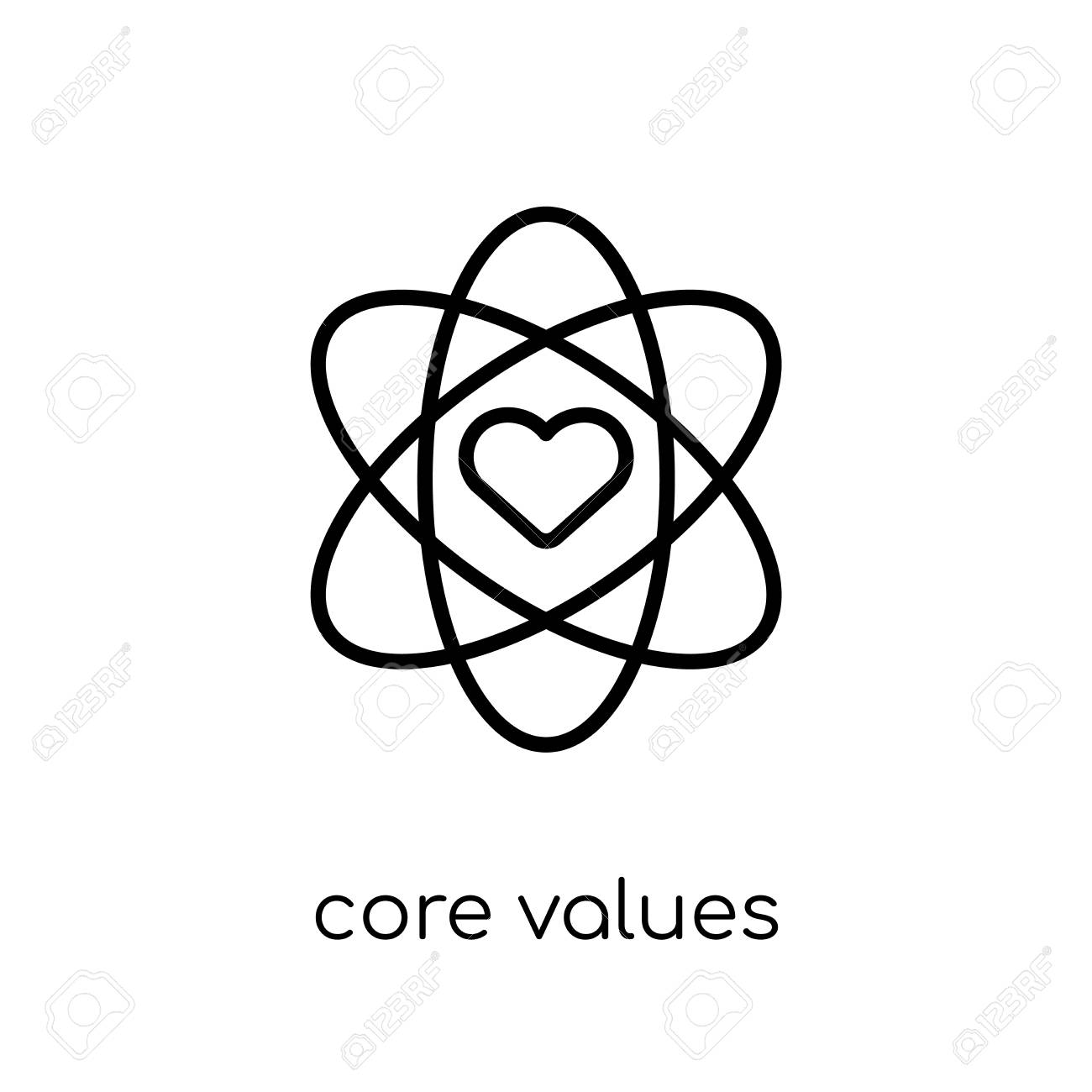 core values icon. Trendy modern flat linear vector core values icon on white background from thin line general collection, editable outline stroke vector illustration - 112105844