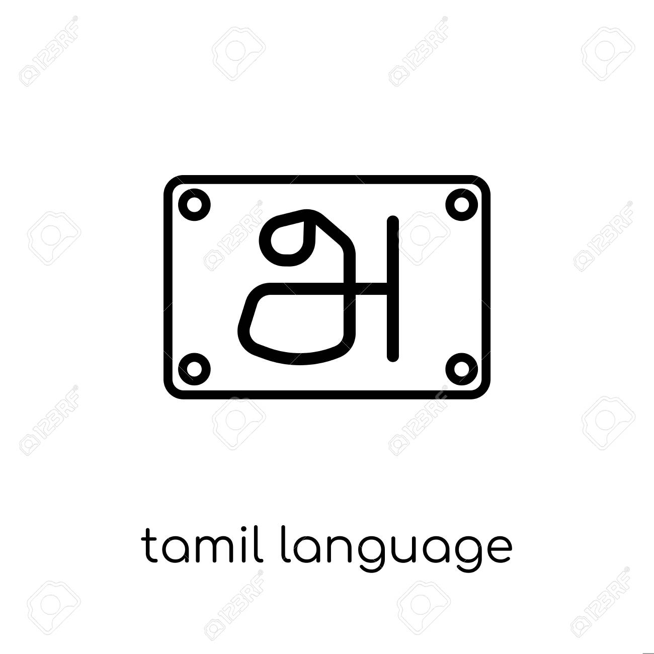 tamil language icon  Trendy modern flat linear vector tamil language