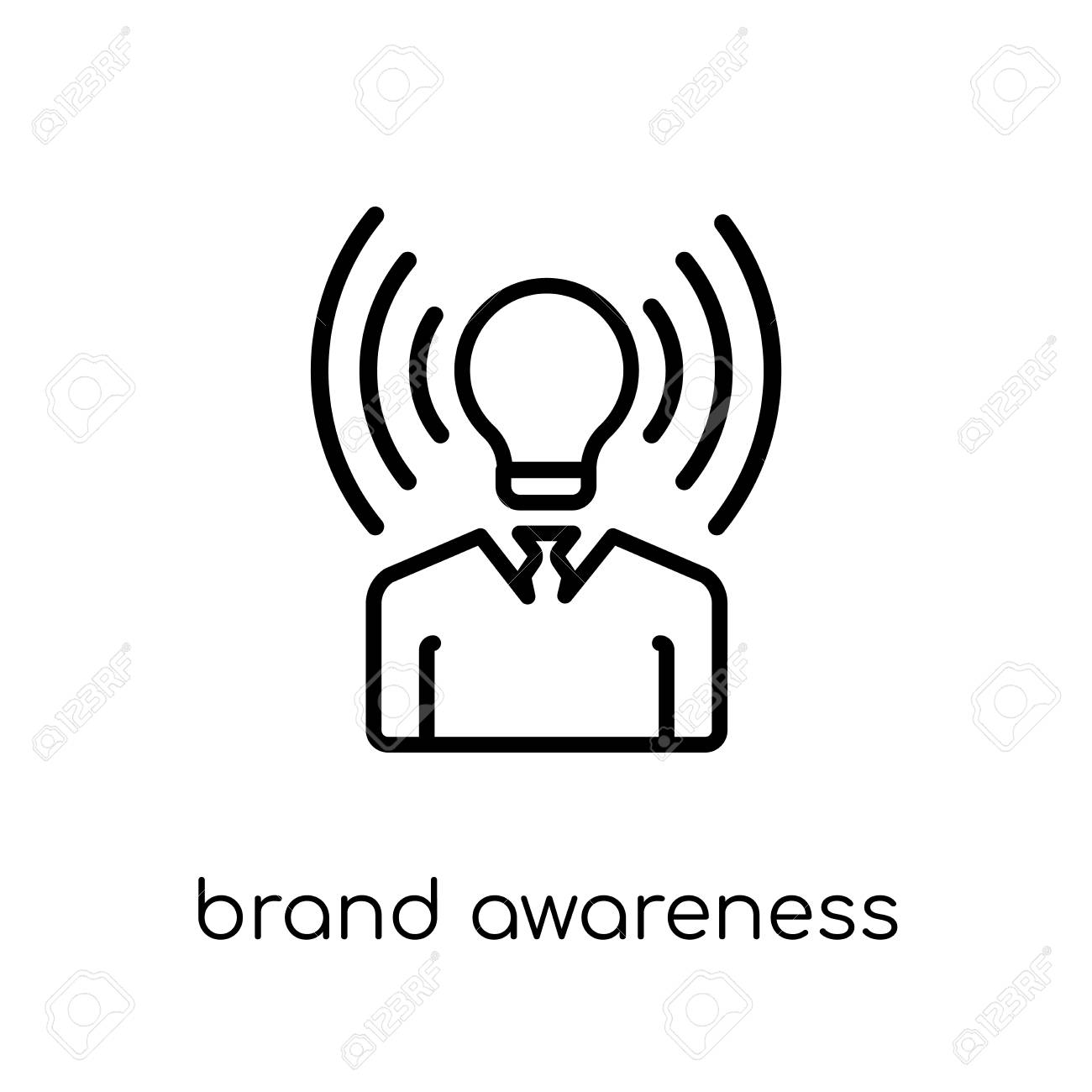 brand awareness icon. Trendy modern flat linear vector brand awareness icon on white background from thin line general collection, editable outline stroke vector illustration - 111334317