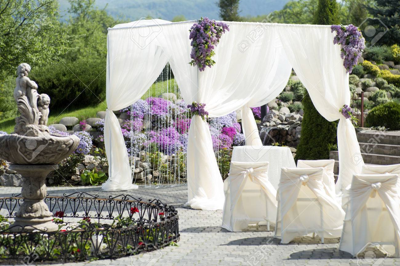 festive wedding ceremony decoration of lightweight white fabric