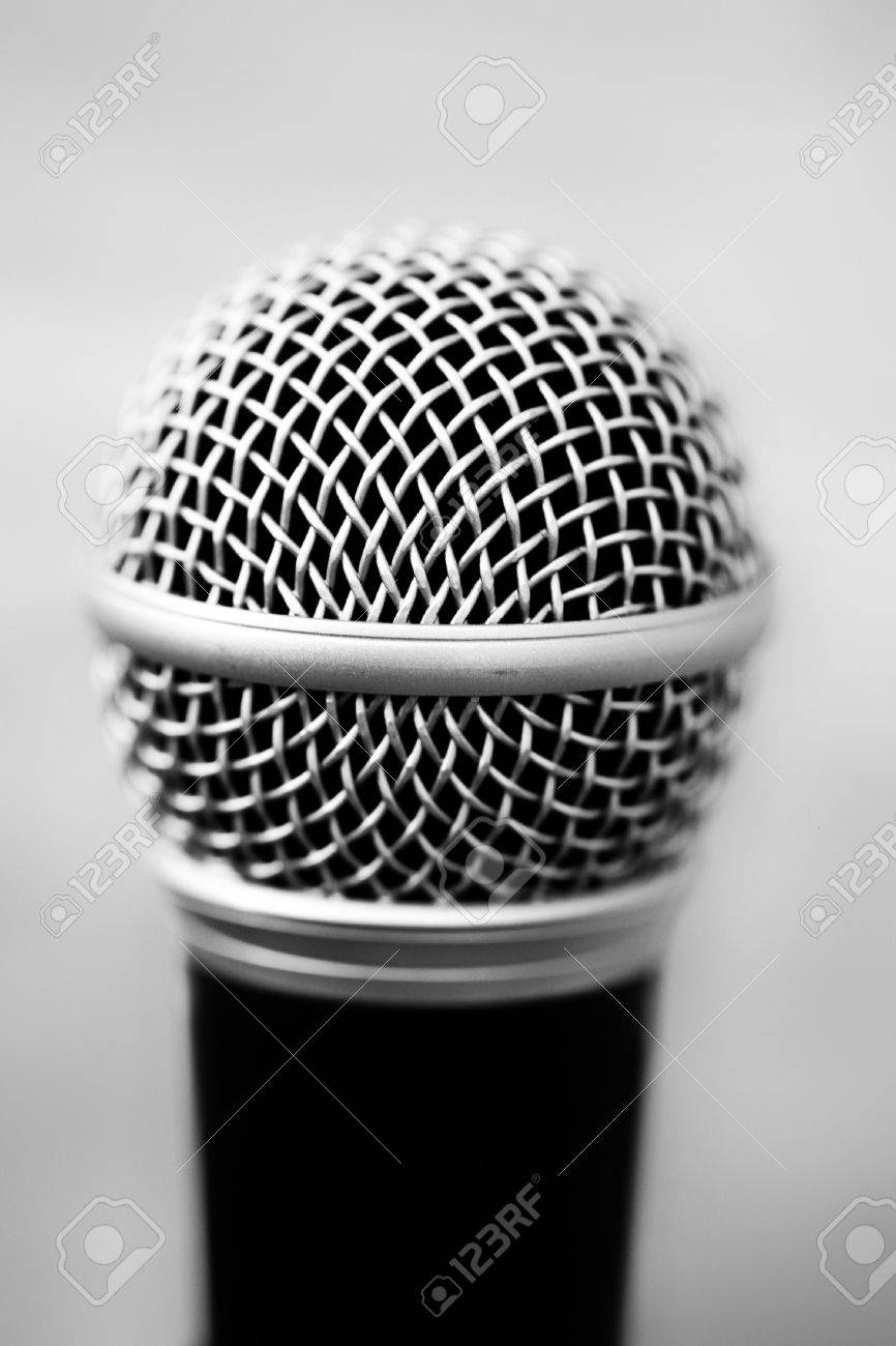 One Professional Microphone In Black With Focus On Head Of Metal ...