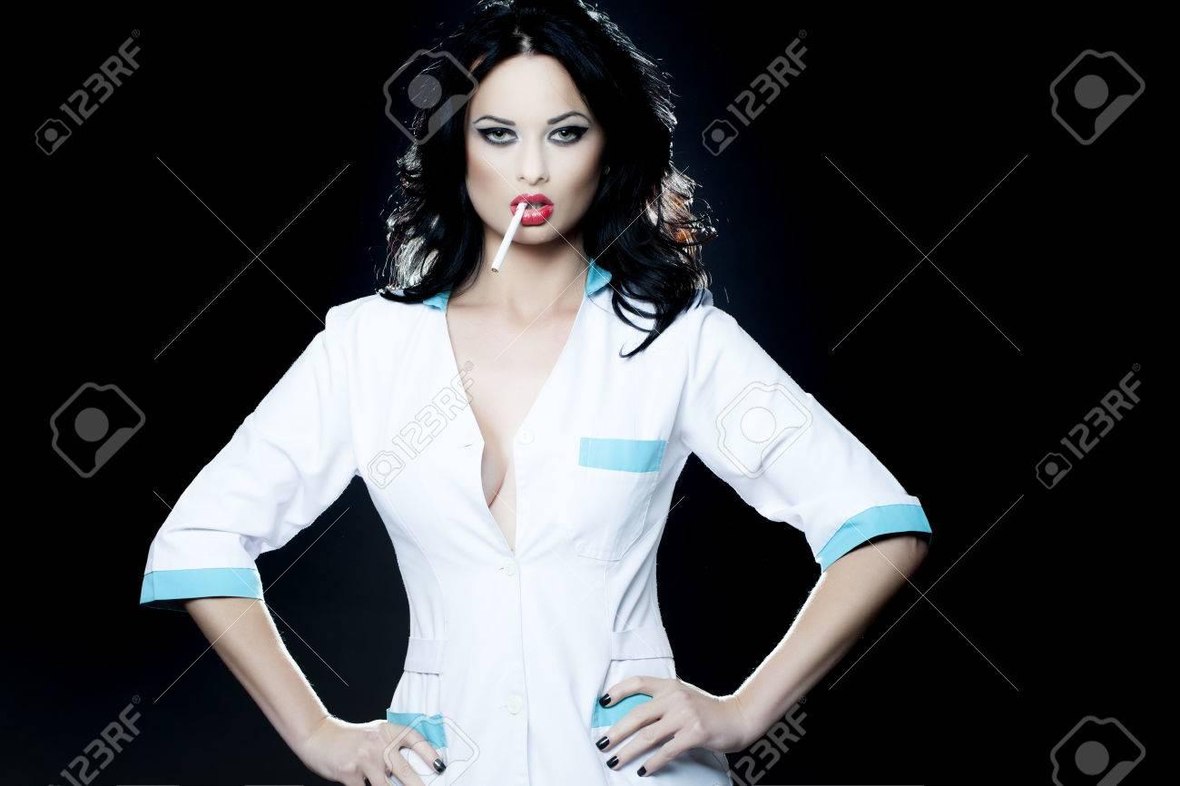Sexy nurse smoking