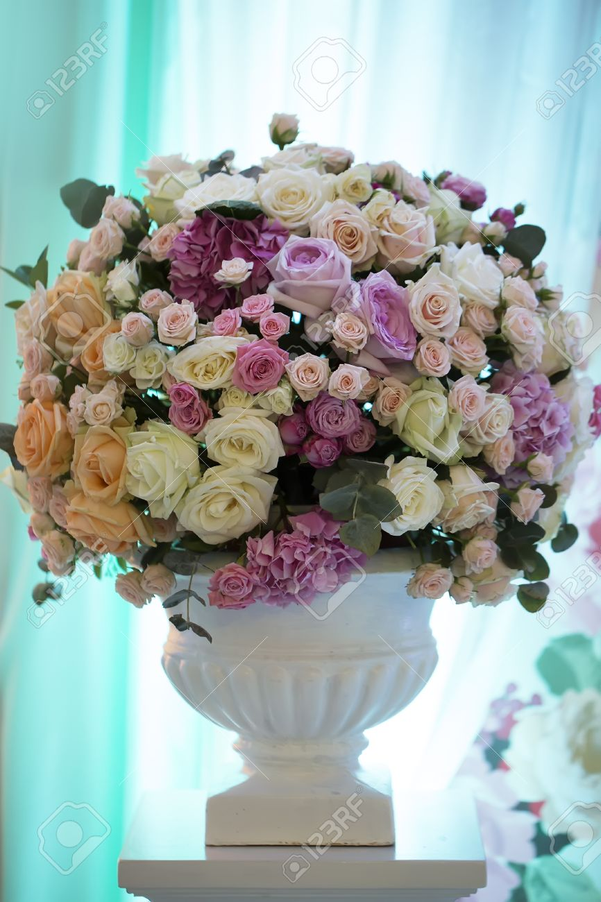Decorative Wedding Bouquet Of Fresh Beautiful Flowers Of Roses And