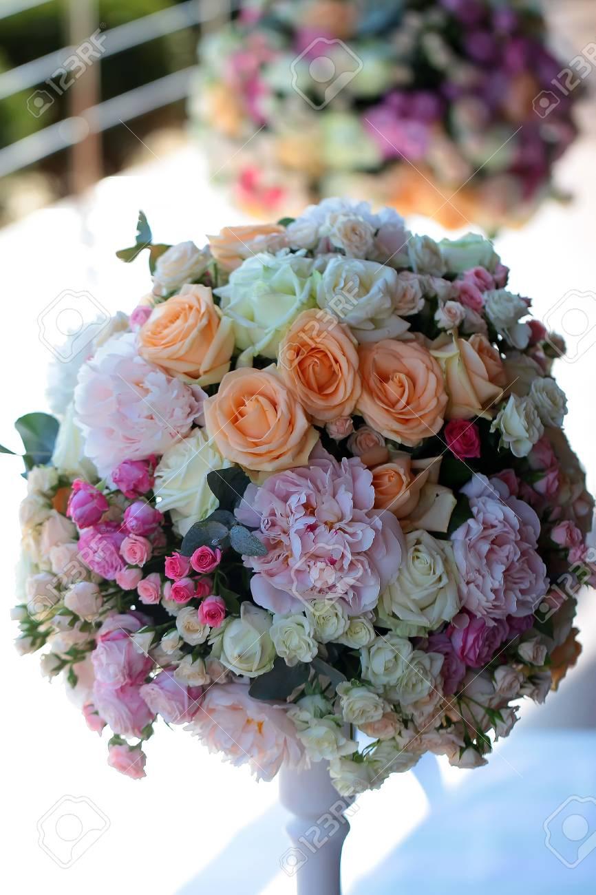 Decorative wedding bunch of fresh beautiful flowers of roses stock decorative wedding bunch of fresh beautiful flowers of roses and peony white pink violet purple yellow mightylinksfo