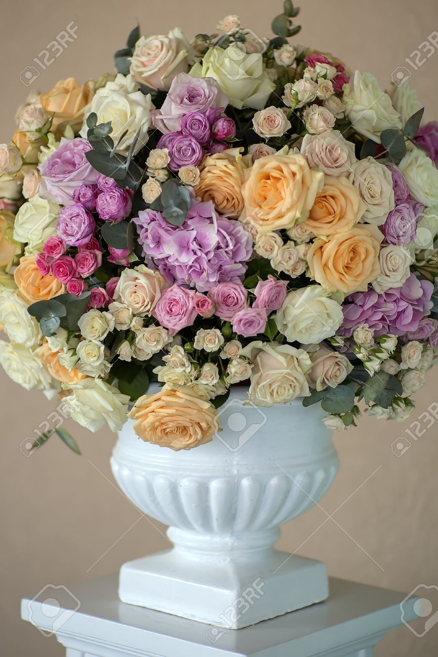 Decoration Of Wedding Bouquet Of Fresh Beautiful Flowers Of Roses
