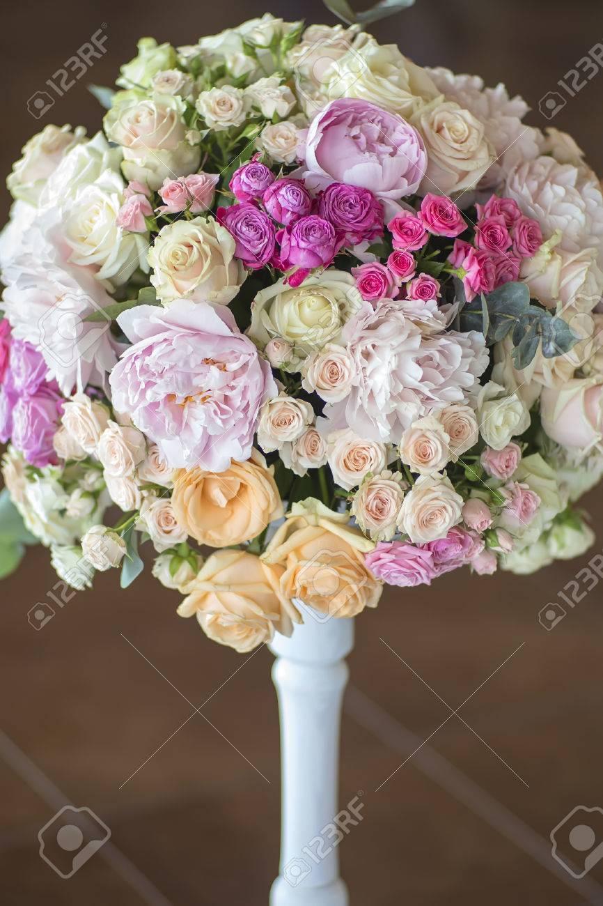 Decoration of wedding nosegay of fresh beautiful flowers of roses decoration of wedding nosegay of fresh beautiful flowers of roses and peony white pink violet purple mightylinksfo