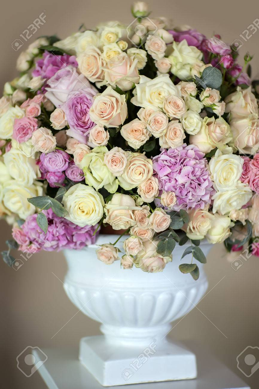 Decorate wedding bouquet of fresh beautiful flowers of roses stock decorate wedding bouquet of fresh beautiful flowers of roses and peony white pink violet purple yellow mightylinksfo