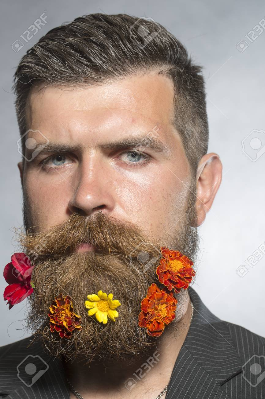 Portrait Of Beautiful Unshaven Man With Long Beard And Hendlebar ...