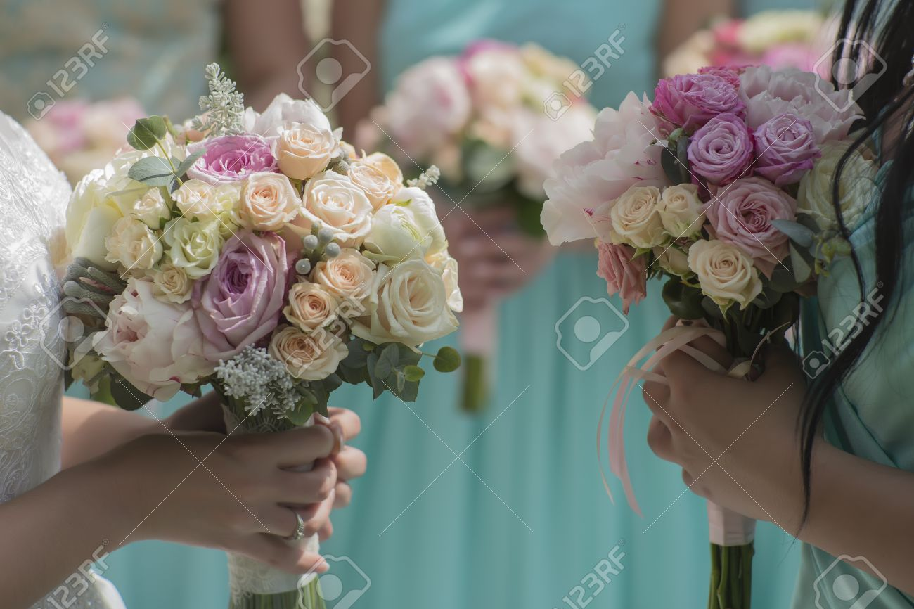 Decorative Beautiful Fresh Wedding Bouquets Of Colorful Rose Stock