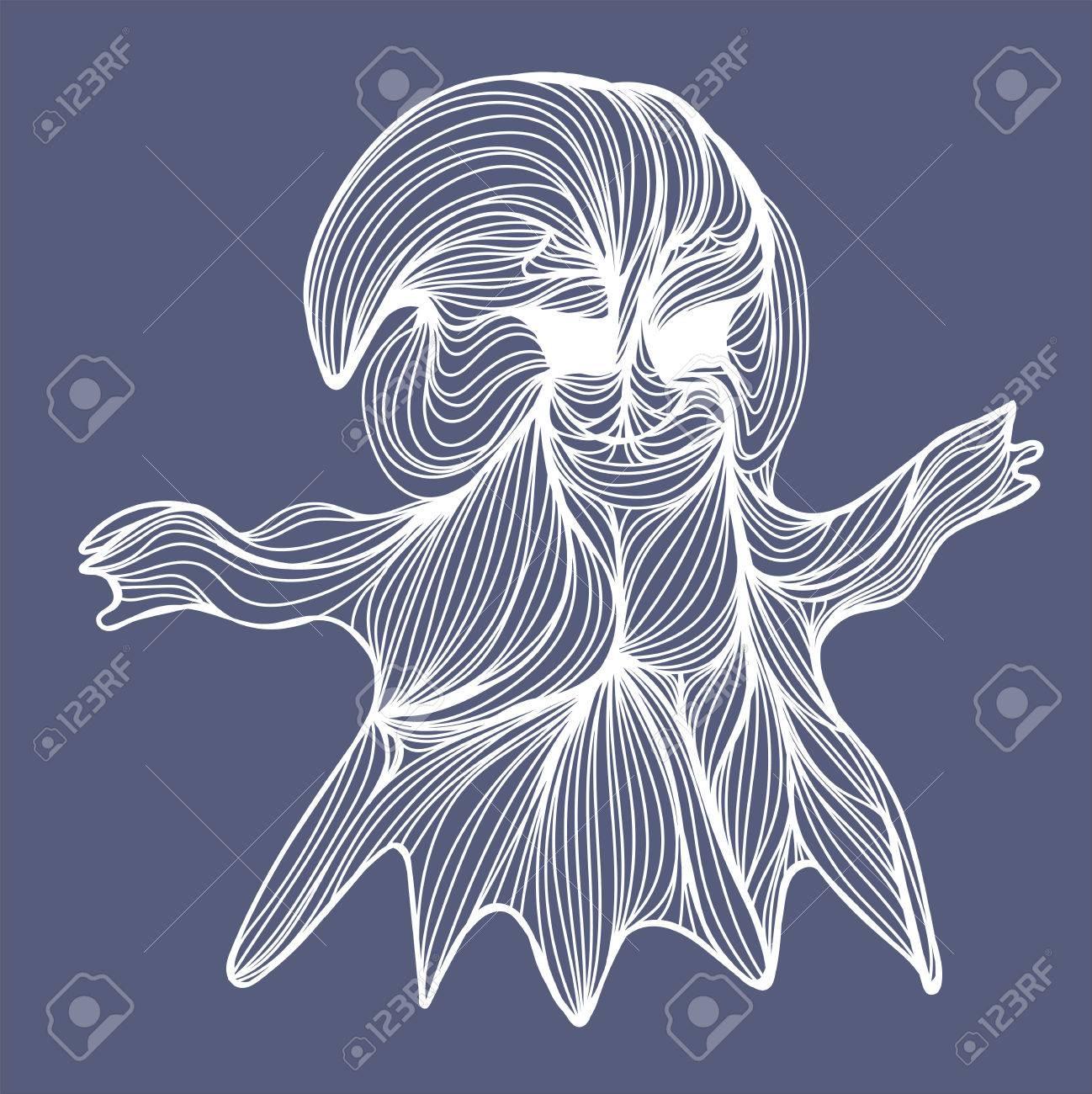 Halloween Afkomst.Vector Illustratie Van Een Afkomstig Uit Vele Witte Lijnen Halloween Symbool Van Het Spook Op Een Grijze Achtergrond
