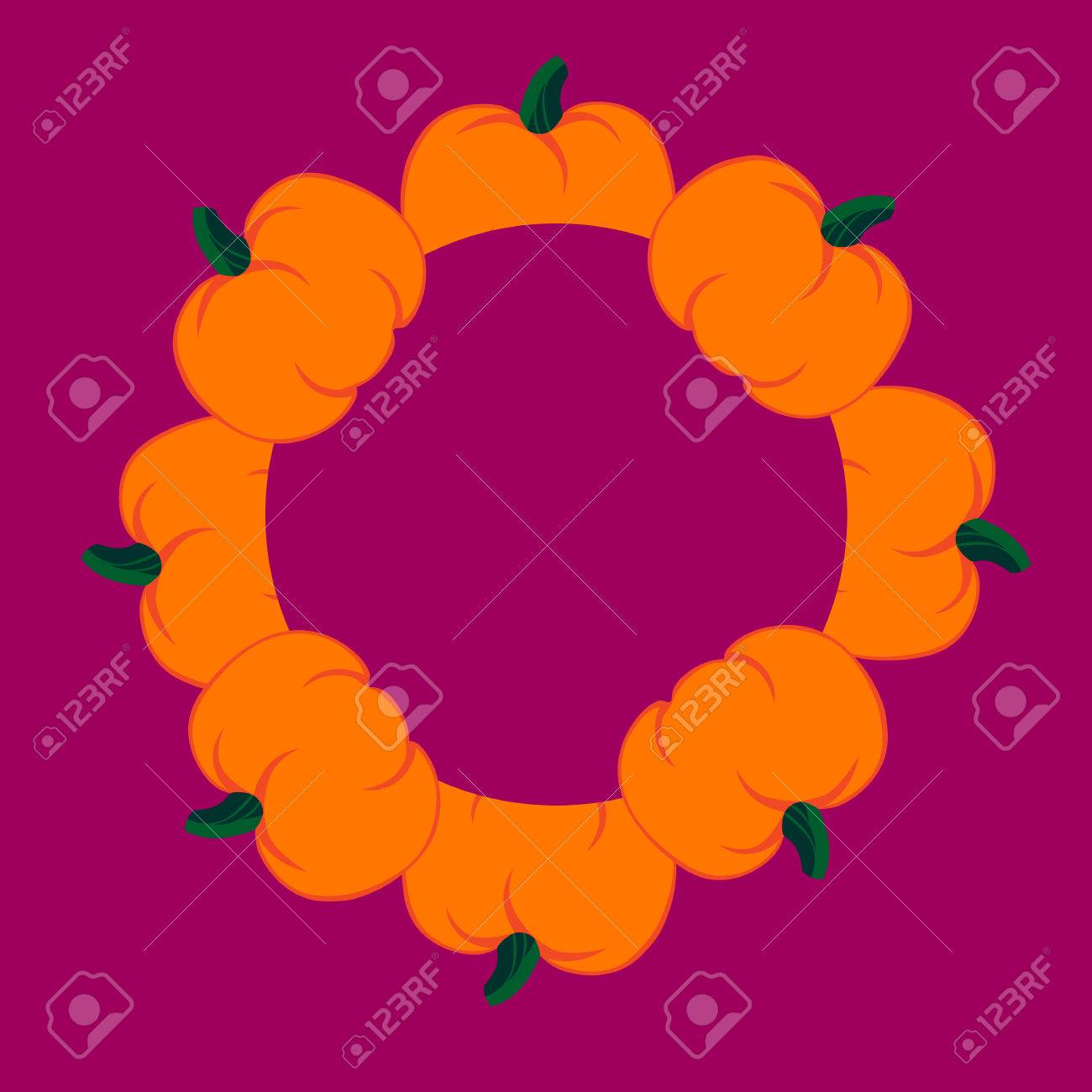 Beautiful Art Creative Colorful Halloween Holiday Wallpaper Vector Il Ration Of Many Orange Pumpkins In Round On