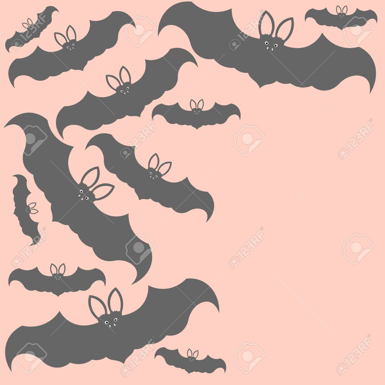 Beautiful Art Creative Colorful Halloween Holiday Wallpaper Vector Il Ration Frame Of Many Grey Flying Bats On